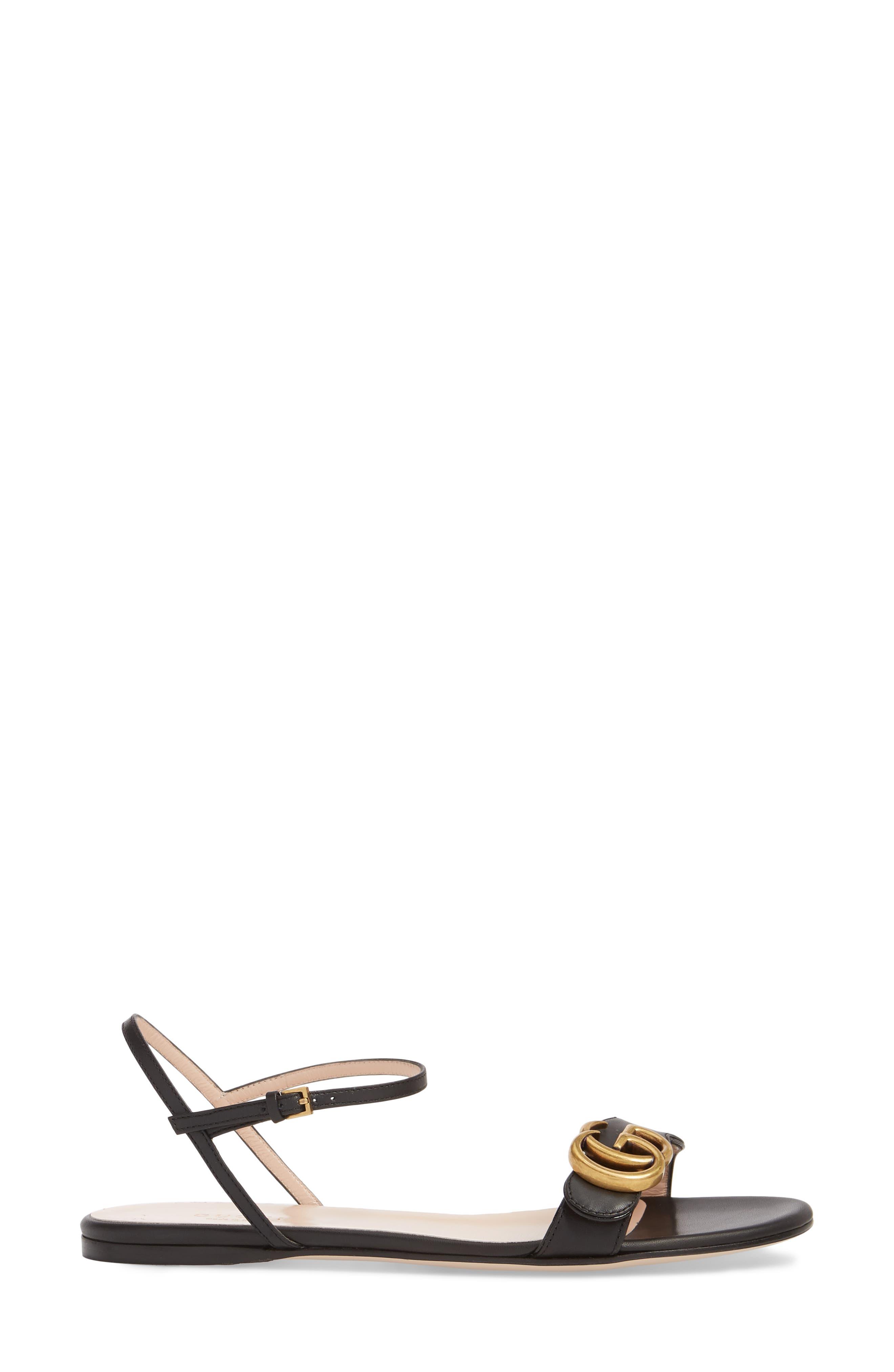 Quarter Strap Flat Sandal,                             Alternate thumbnail 3, color,                             BLACK