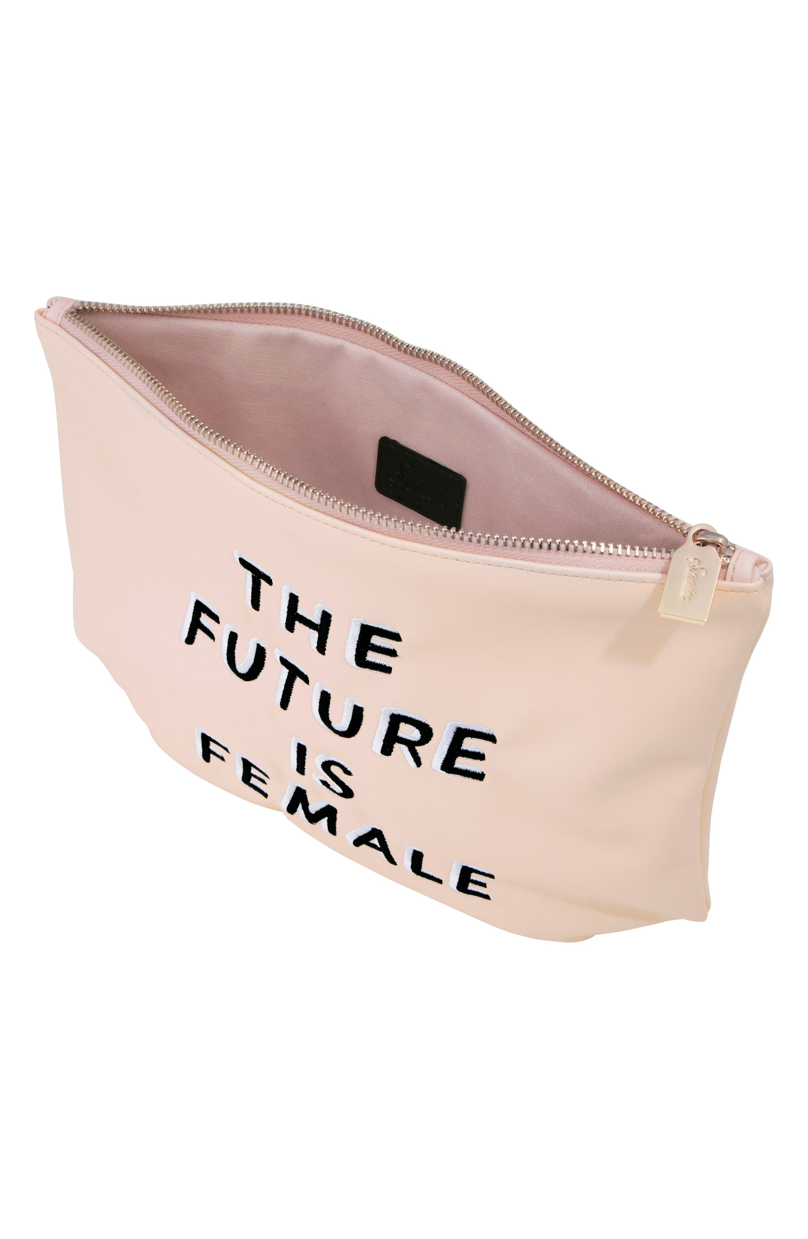 The Future is Female Faux Leather Everyday Pouch,                             Alternate thumbnail 2, color,                             650