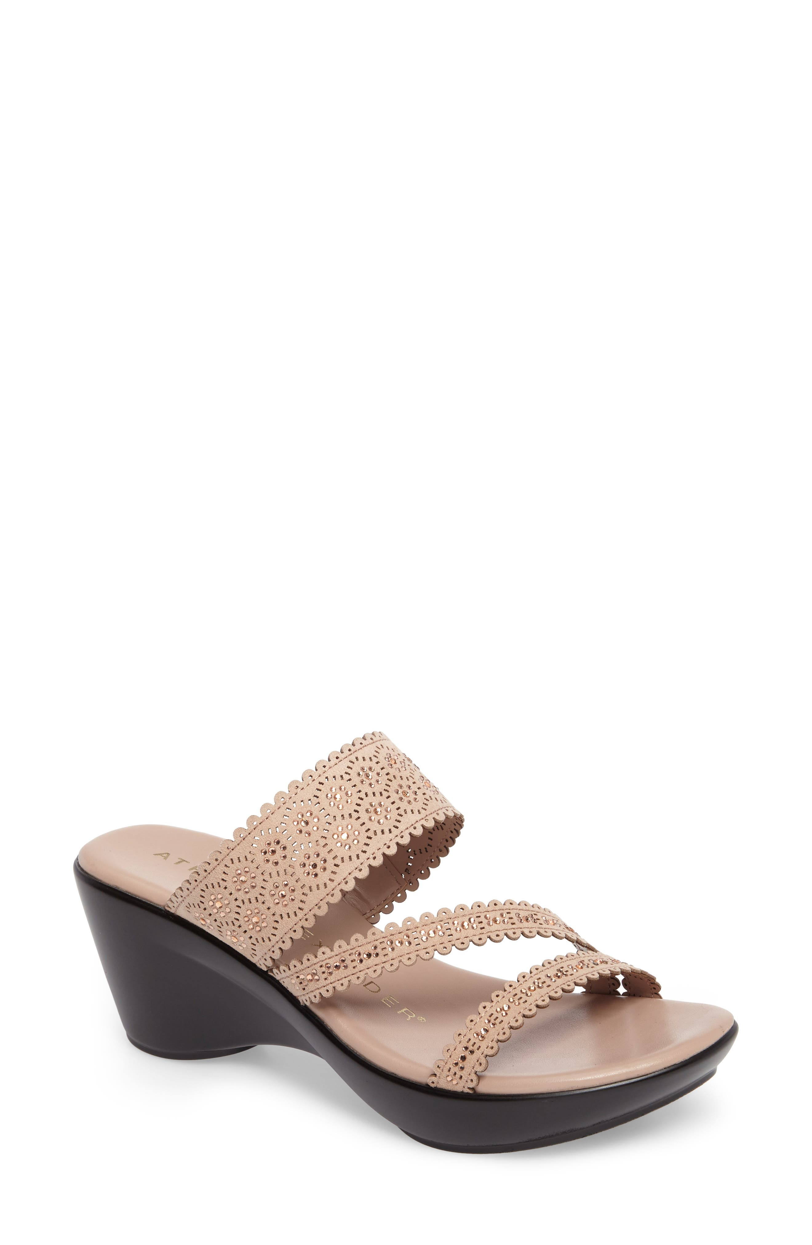 Poppy Wedge Sandal,                         Main,                         color, BLUSH SYNTHETIC