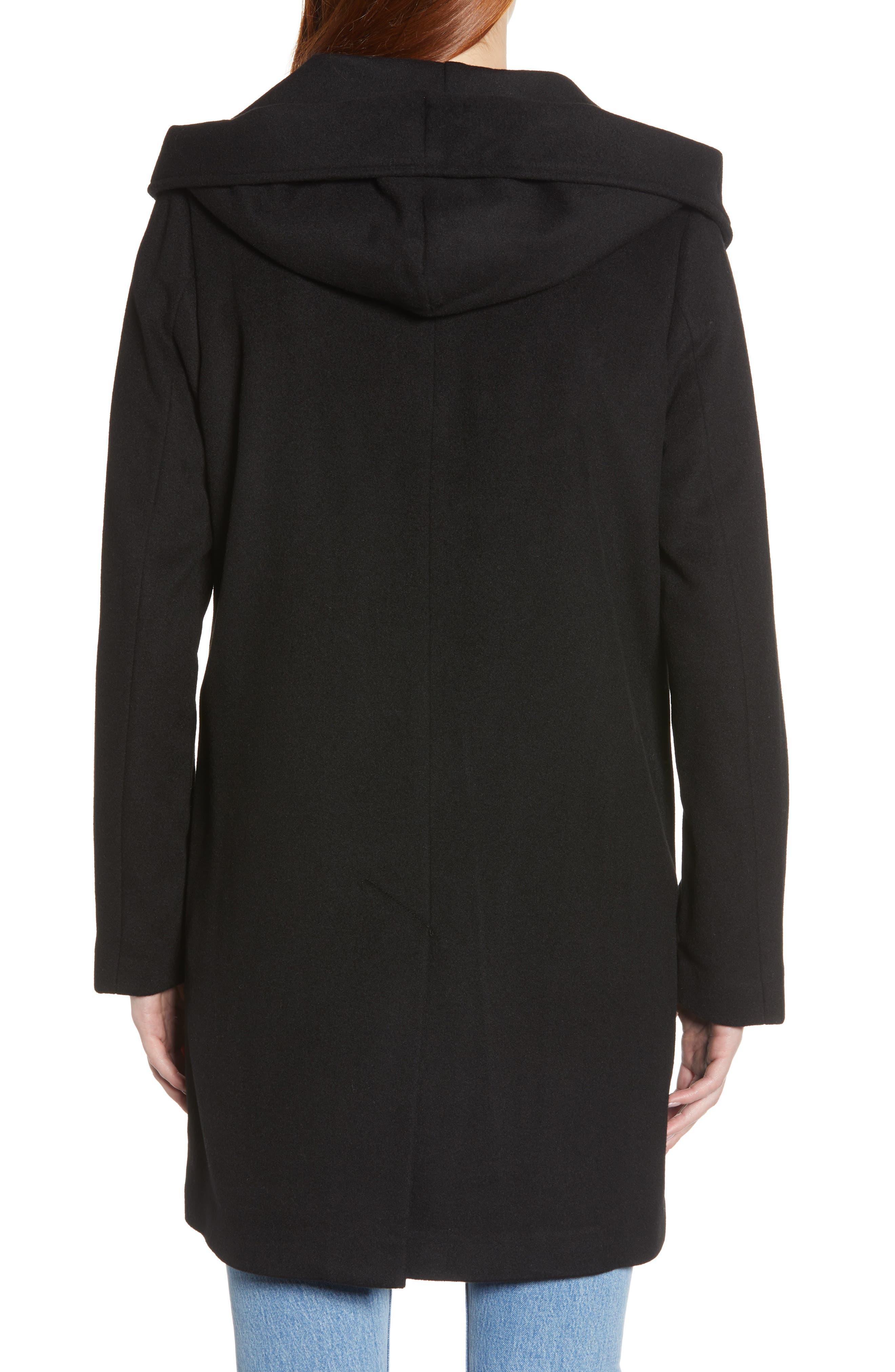 Shawl Collar Hooded Coat,                             Alternate thumbnail 2, color,                             BLACK