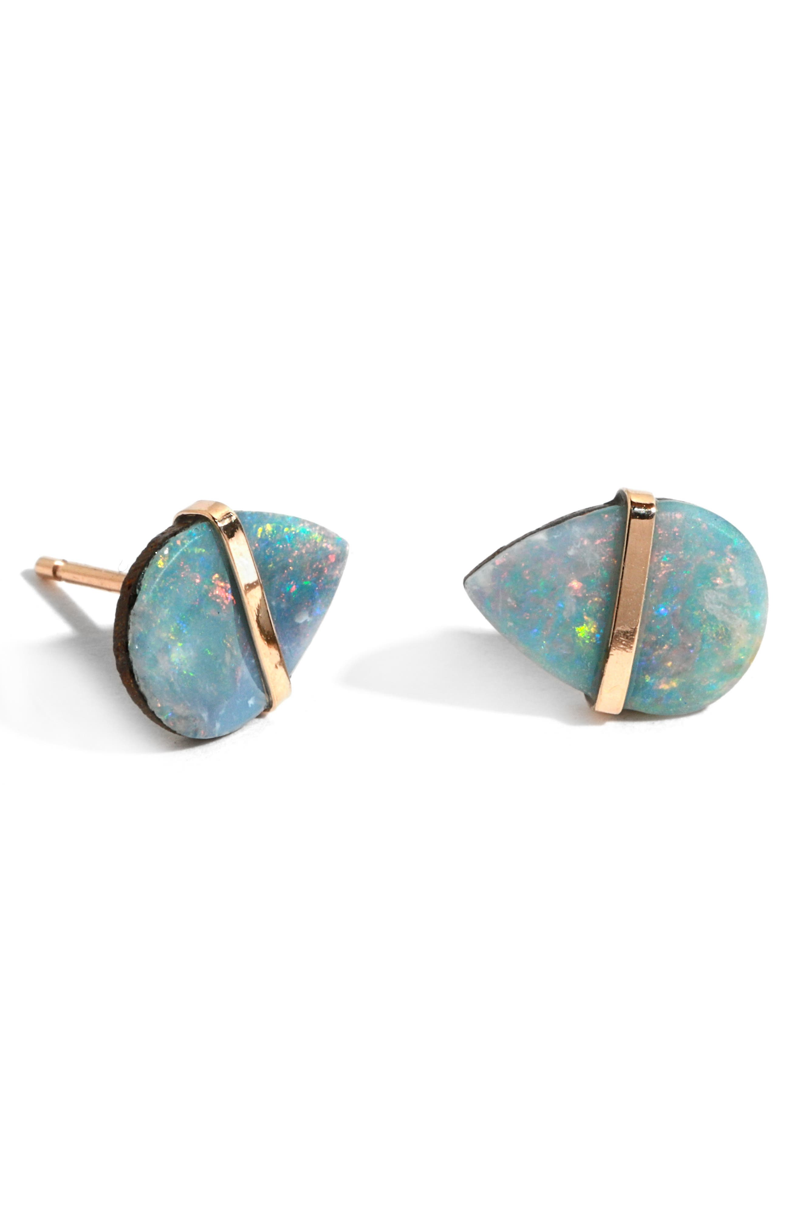 Semiprecious Stone Stud Earrings,                         Main,                         color, YELLOW GOLD