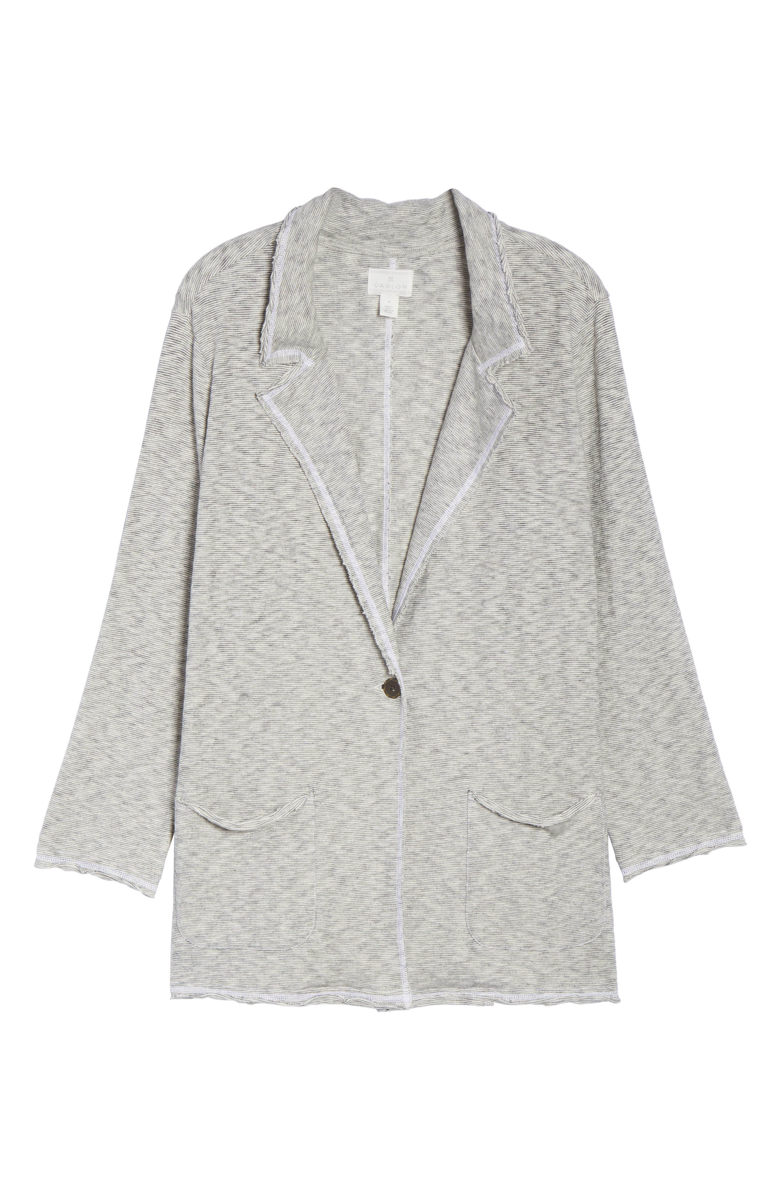 Knit Boyfriend Blazer,                             Alternate thumbnail 5, color,                             001