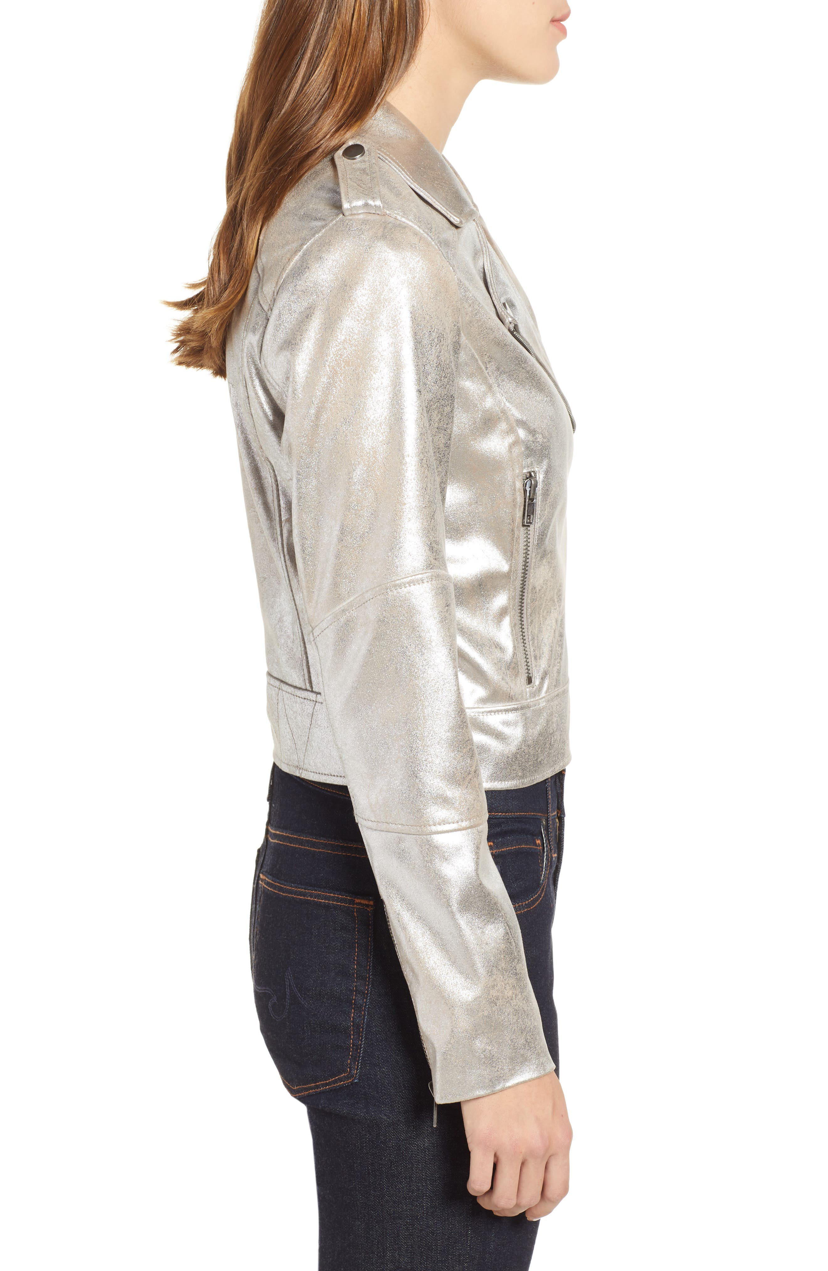 CUPCAKES AND CASHMERE,                             Foiled Faux Suede Moto Jacket,                             Alternate thumbnail 3, color,                             SILVER TOFFEE