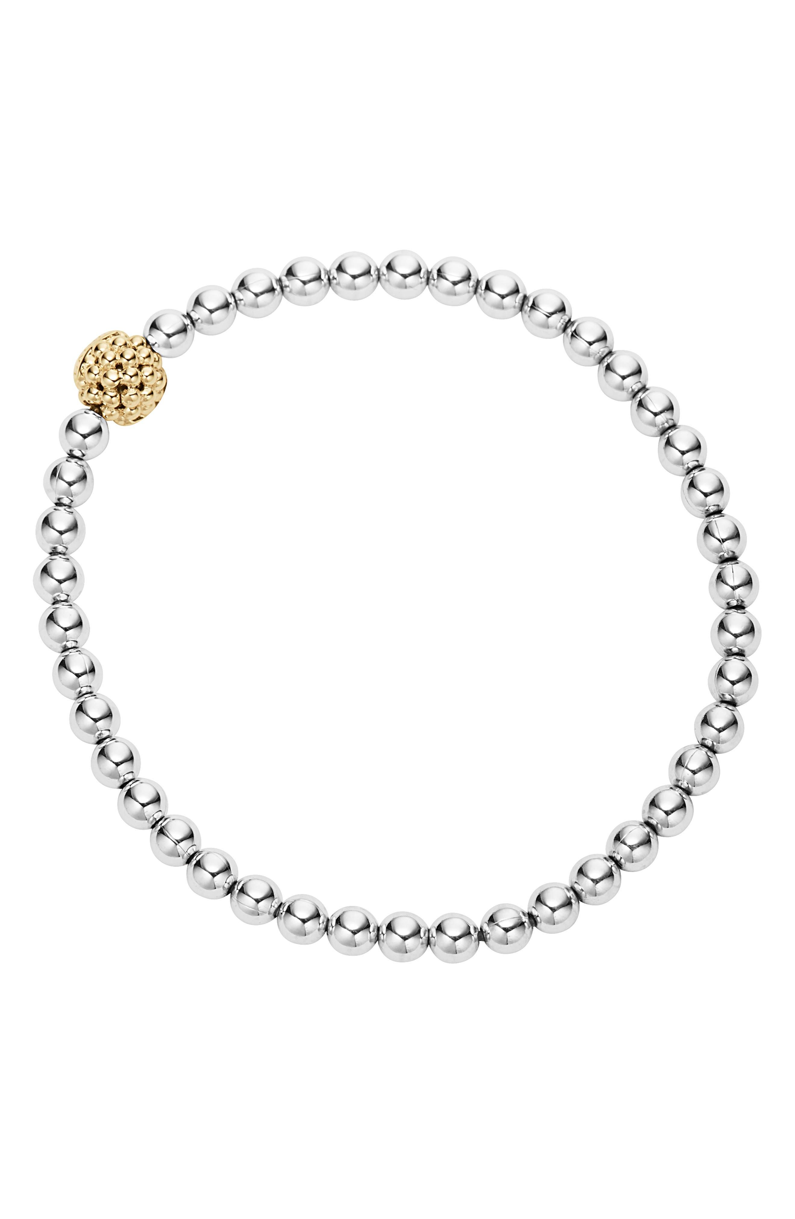 Caviar Icon Ball Bracelet,                             Alternate thumbnail 2, color,                             SILVER/ GOLD BALL