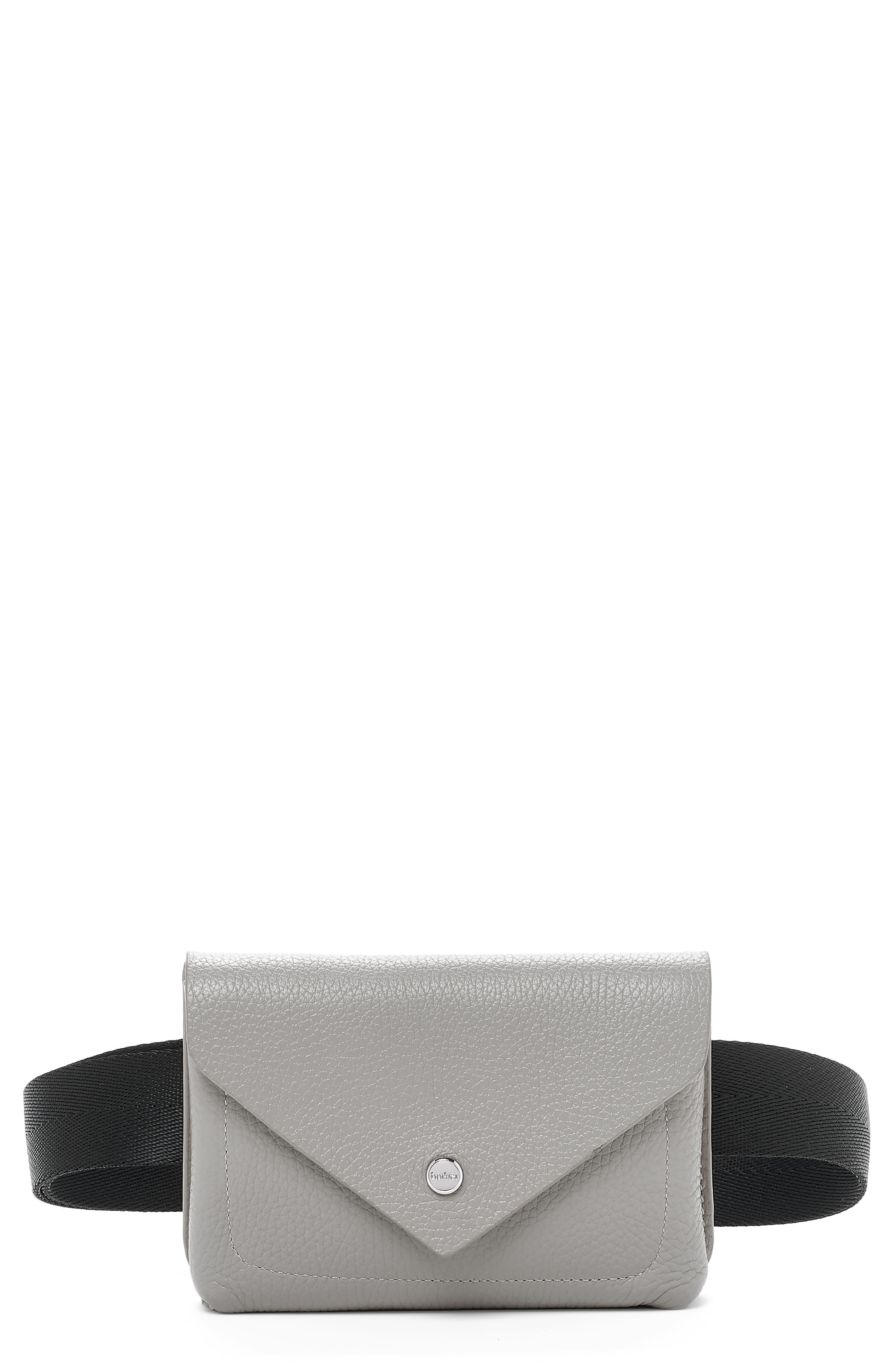 BOTKIER Vivi Calfskin Leather Belt Bag, Main, color, SILVER GREY