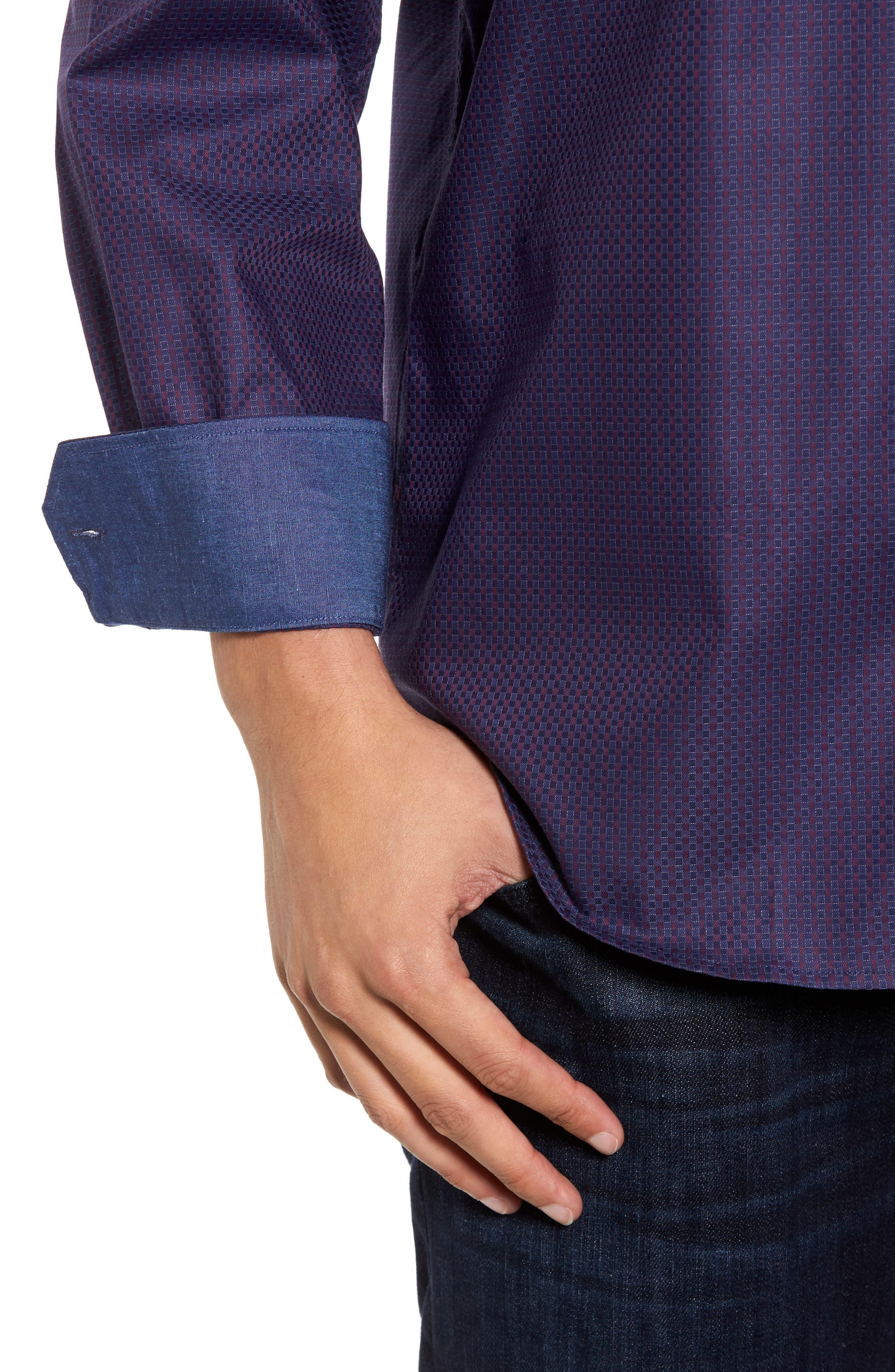 Classic Fit Print Sport Shirt,                             Alternate thumbnail 4, color,                             503