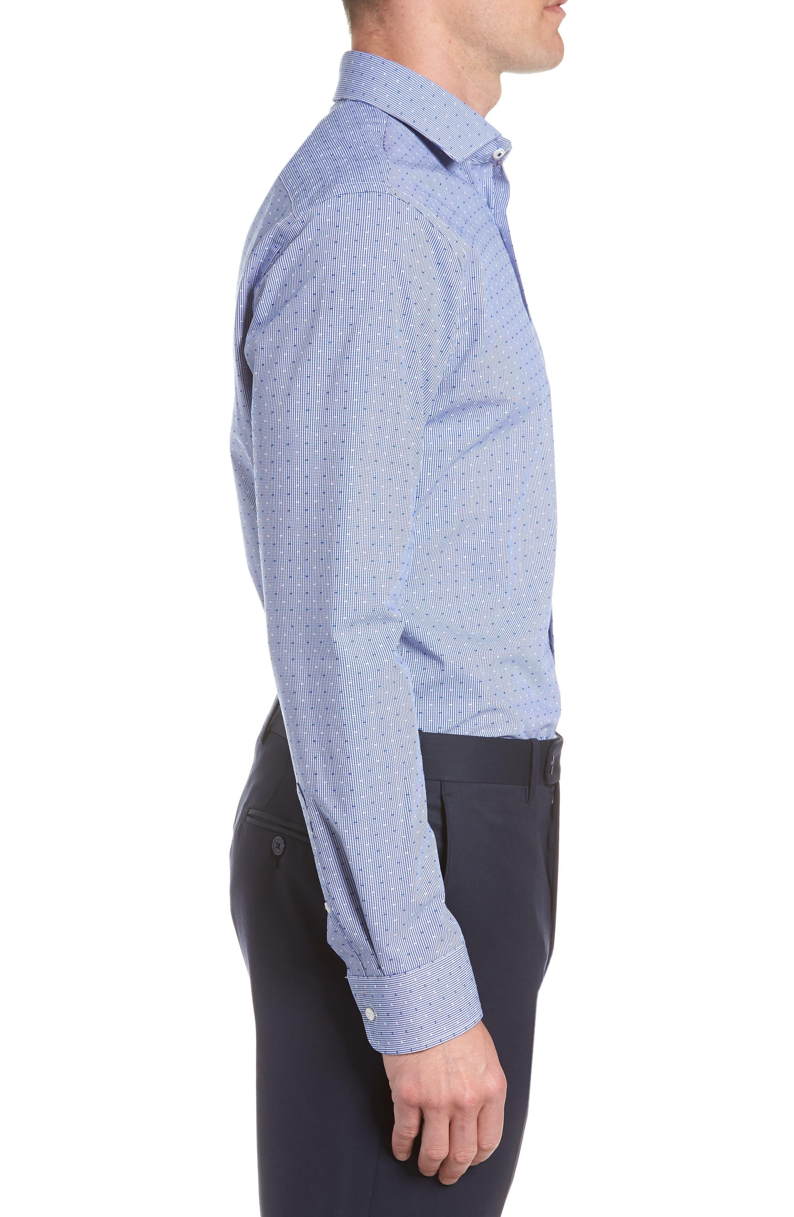 Tech-Smart Trim Fit Check Dress Shirt,                             Alternate thumbnail 4, color,