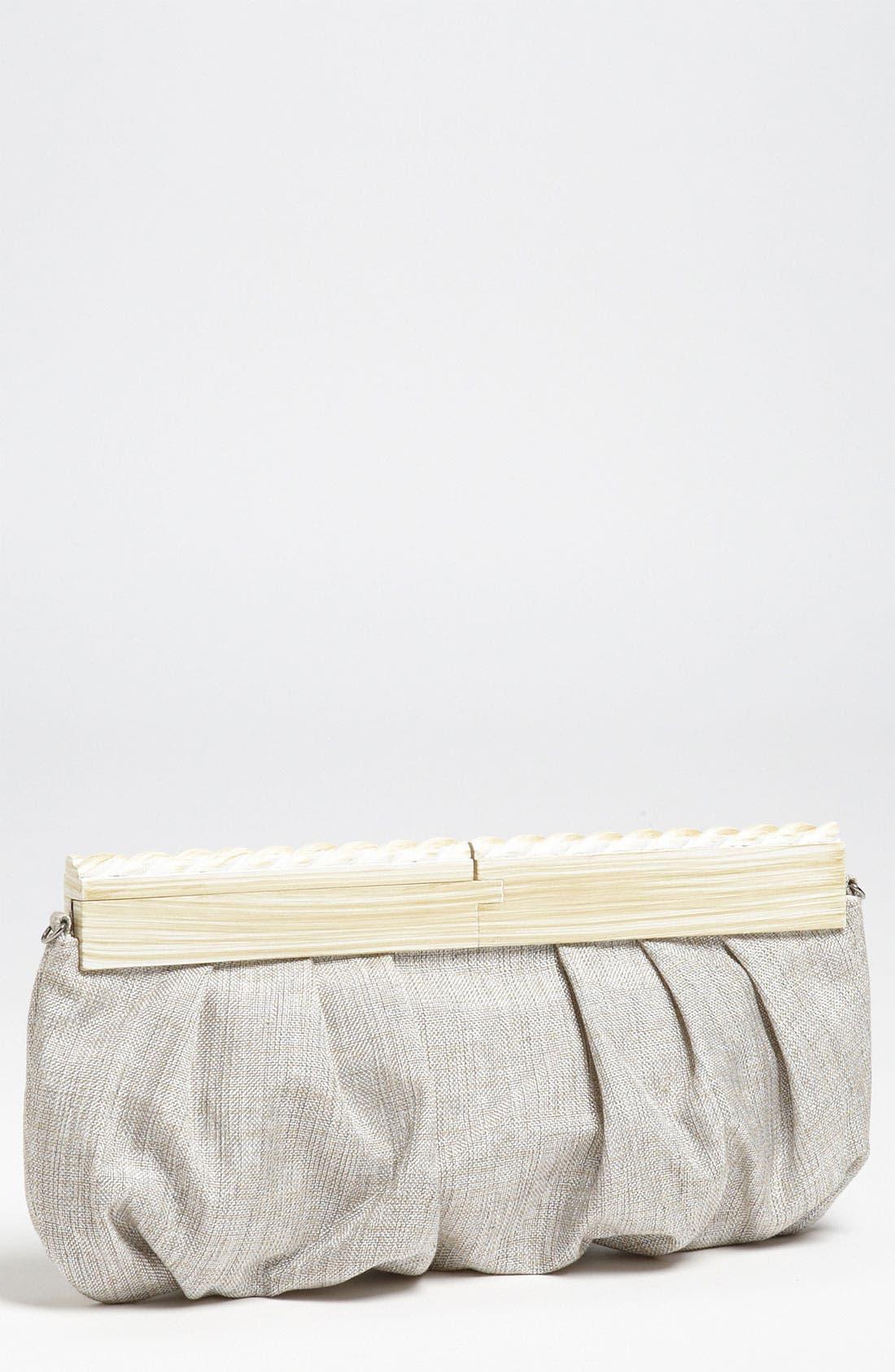 SR Squared by Sondra Roberts Linen & Wood Clutch,                             Main thumbnail 2, color,