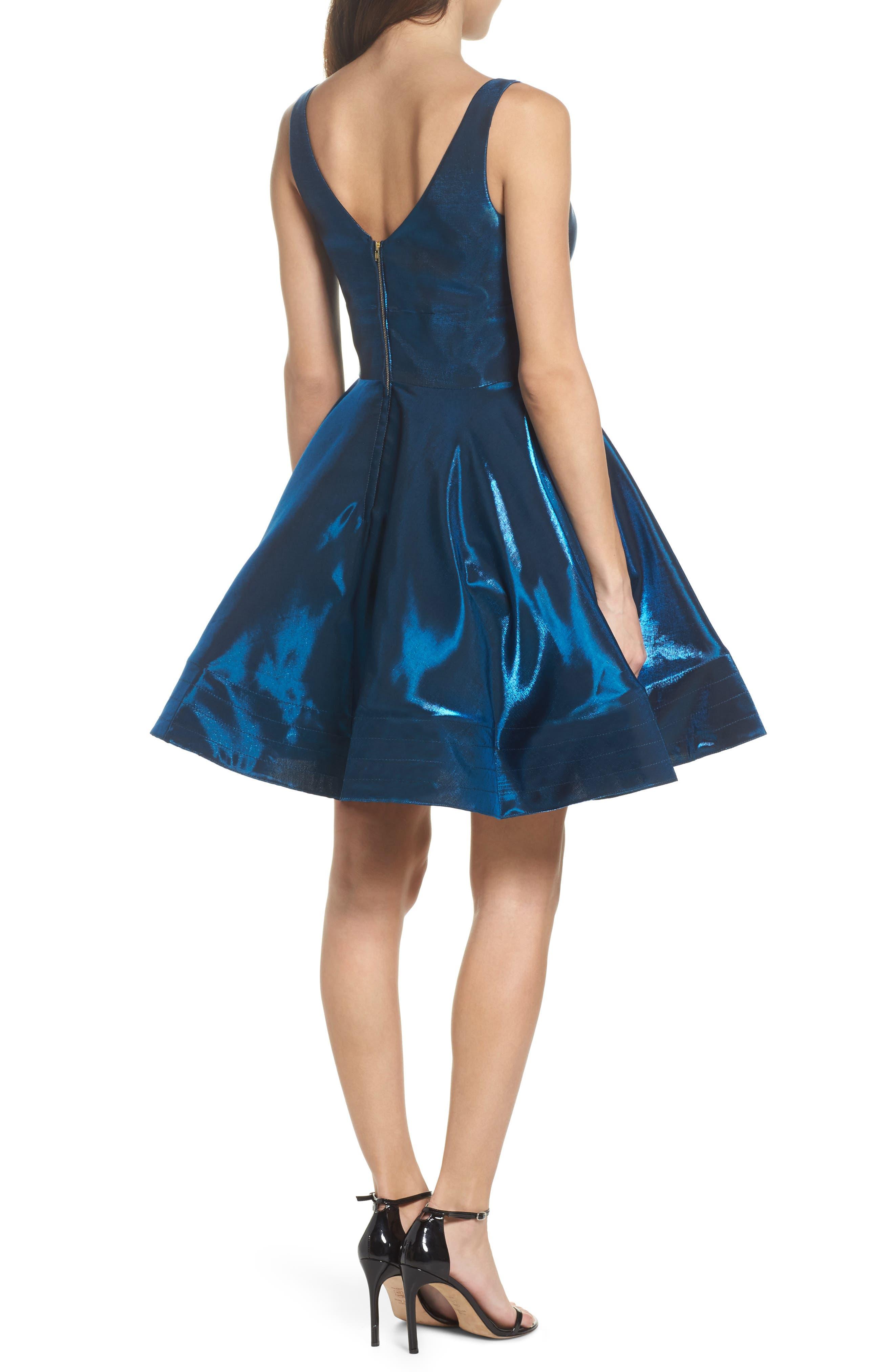 Shimmer Fit & Flare Dress,                             Alternate thumbnail 2, color,                             400