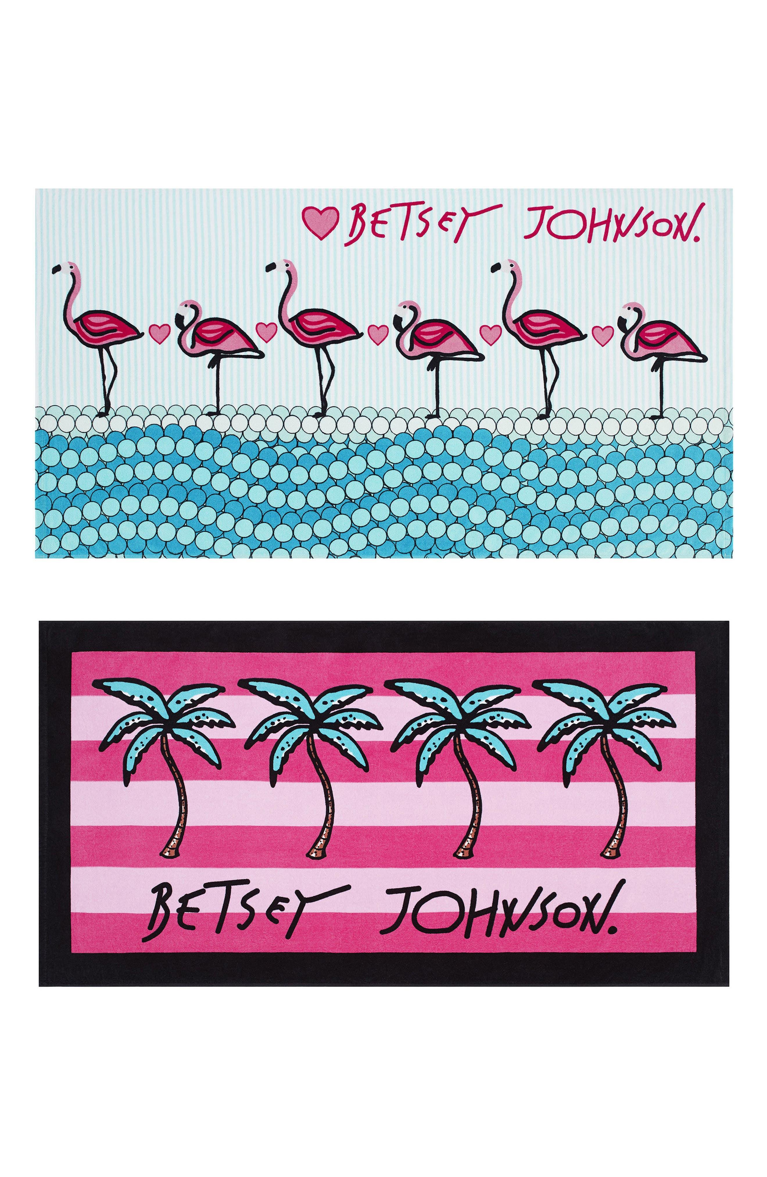 Flamingo/Palm Stripe Set of 2 Beach Towels,                             Main thumbnail 1, color,                             650