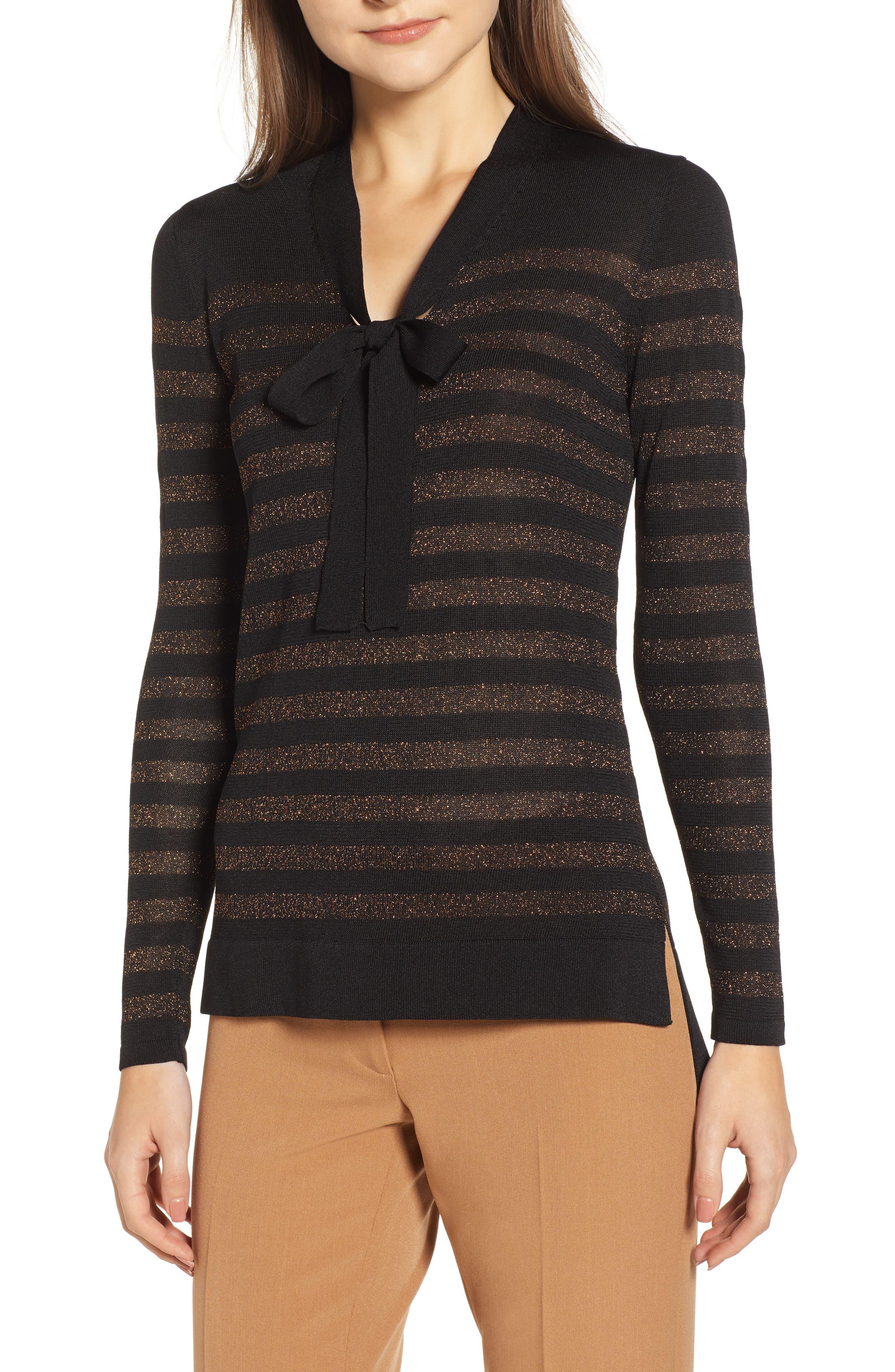 Metallic Stripe Bow Front Sweater,                             Main thumbnail 1, color,                             ANNE BLACK/ COPPER