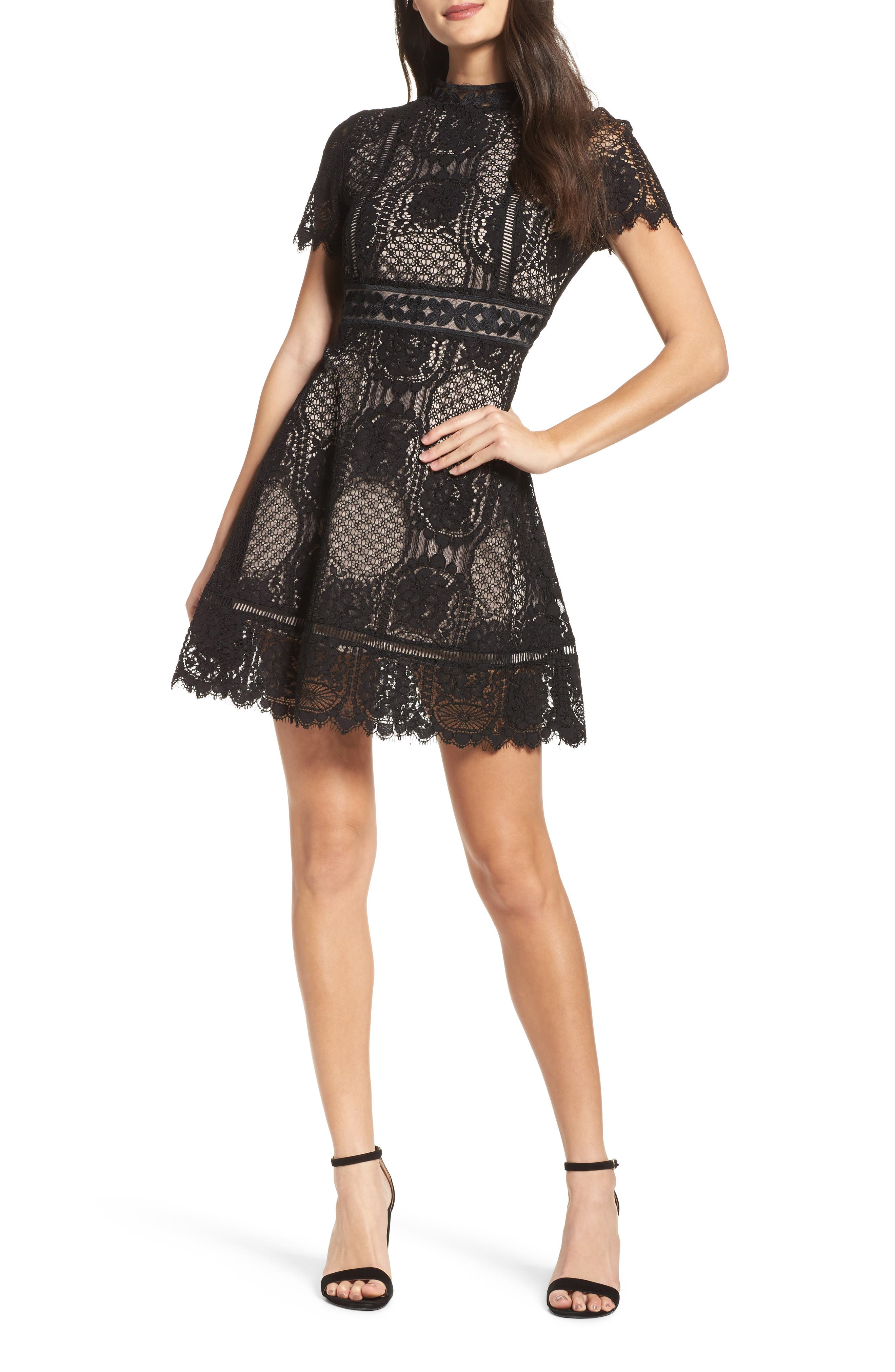 Lace Fit & Flare Dress,                         Main,                         color, 001