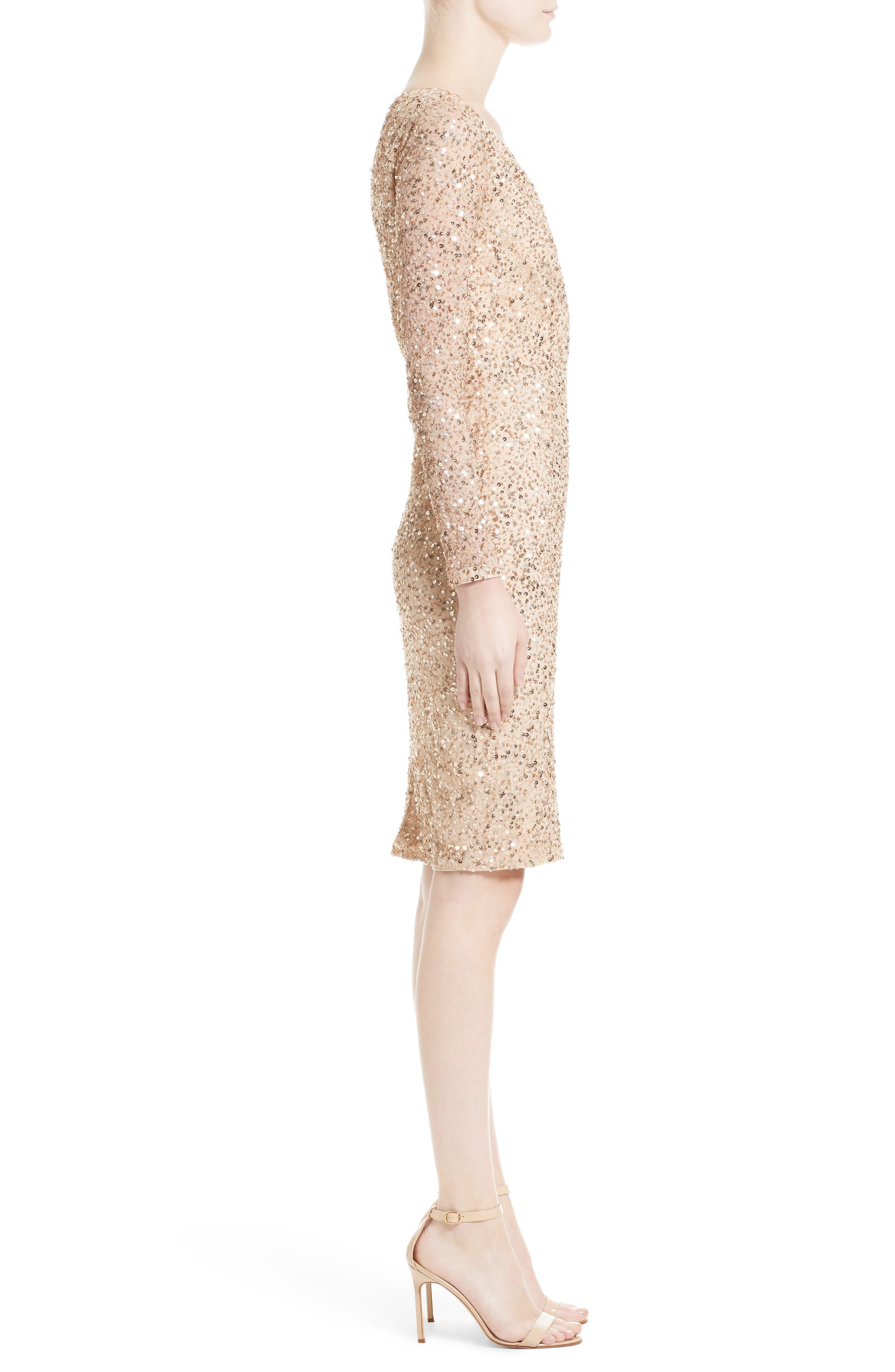 Sequin Body-Con Dress,                             Alternate thumbnail 3, color,                             710