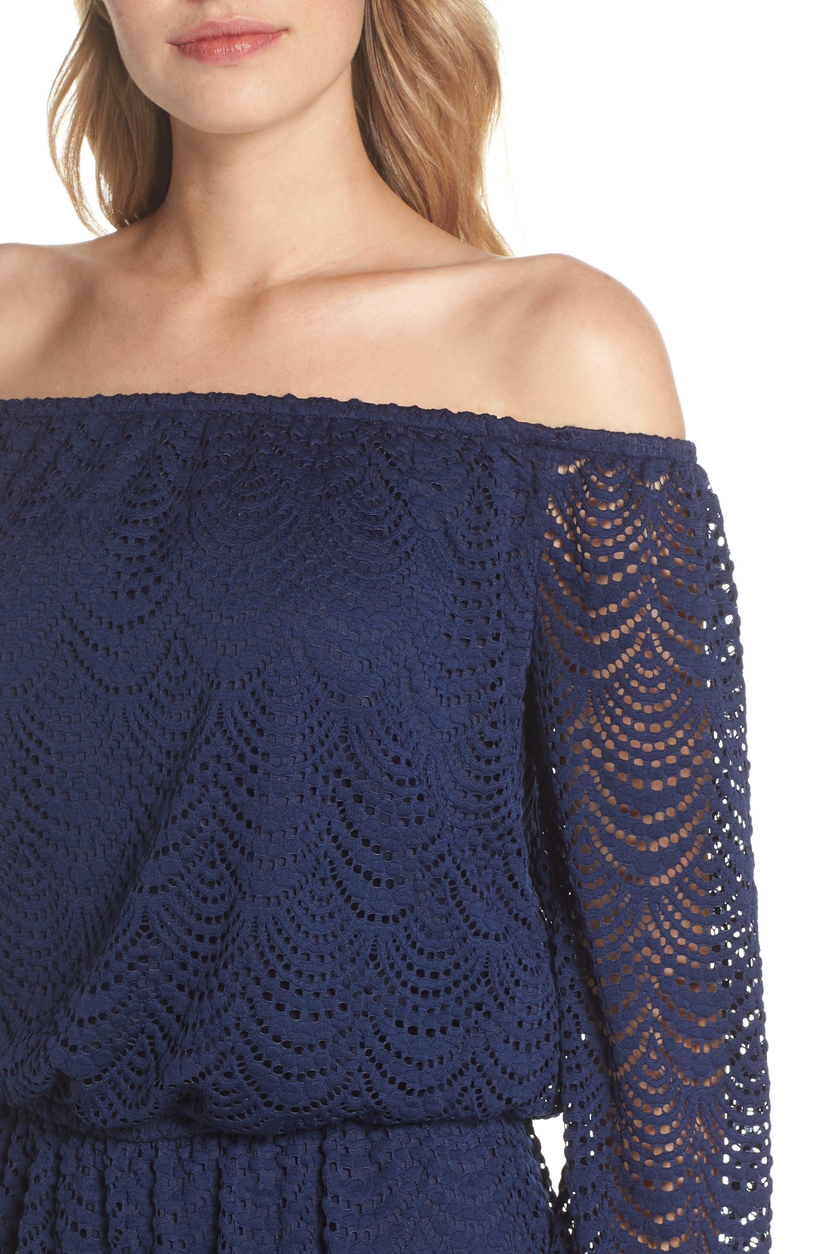 Lana Off the Shoulder Dress,                             Alternate thumbnail 4, color,                             408
