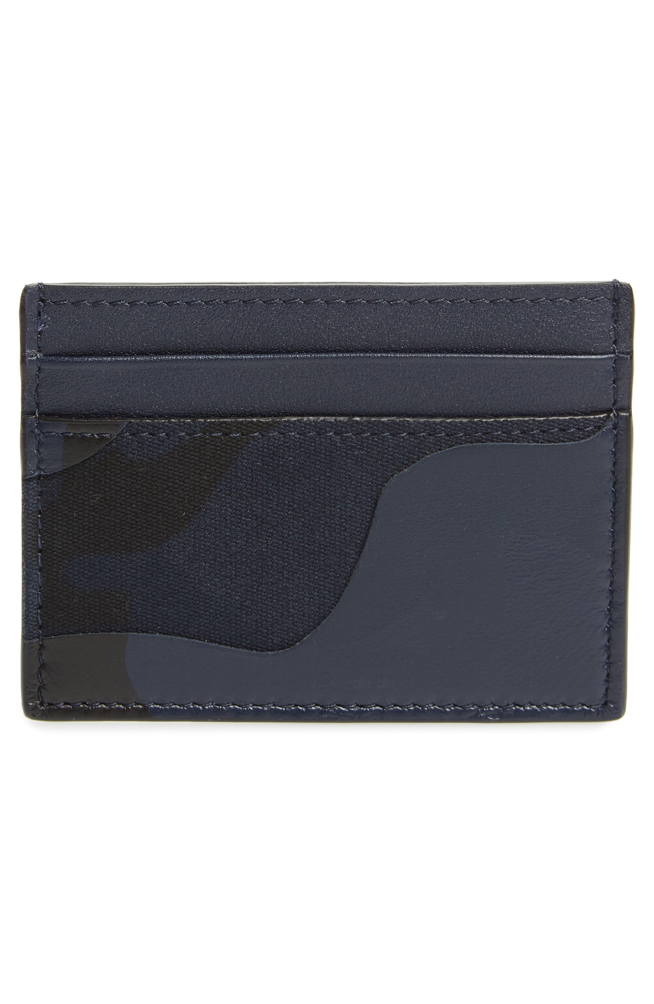 GARAVANI Camo Nylon & Leather Card Case,                             Alternate thumbnail 2, color,                             MARINE