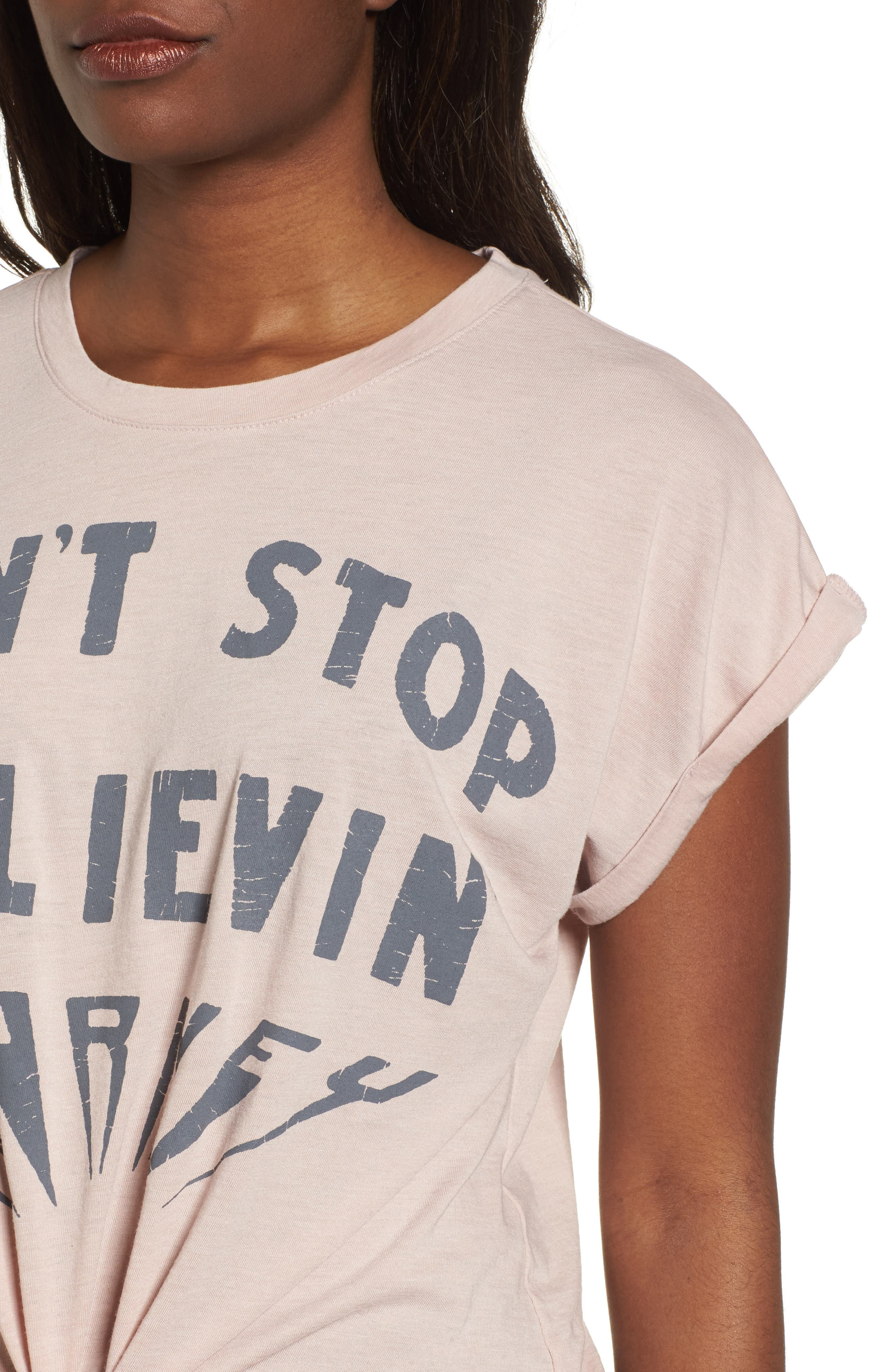 Don't Stop Believing Tie-Front Tee,                             Alternate thumbnail 4, color,                             036