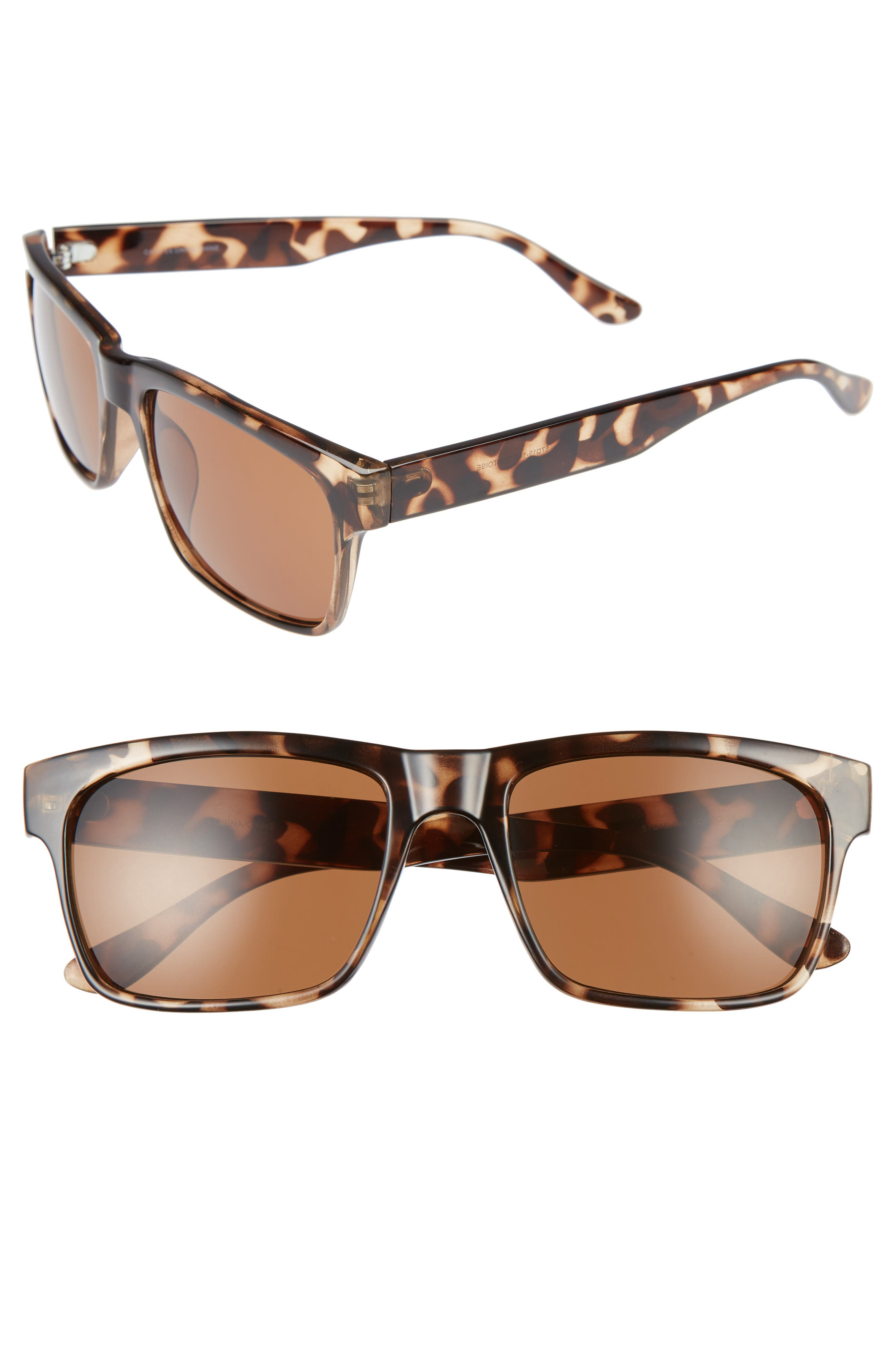 Hollis 57mm Sunglasses,                             Main thumbnail 1, color,                             TORTOISE/ BROWN