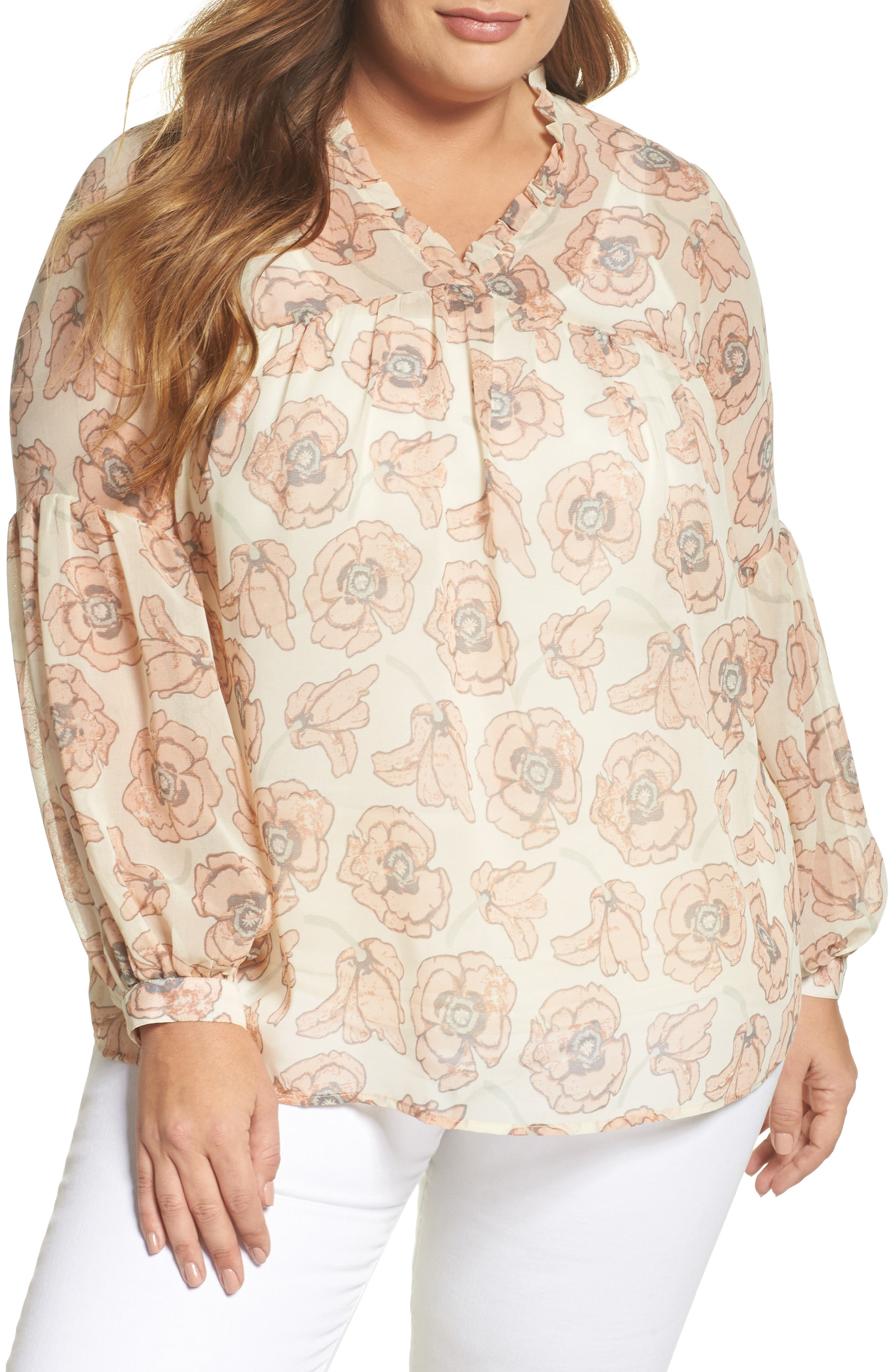 Exploded Floral Top,                             Main thumbnail 1, color,                             690