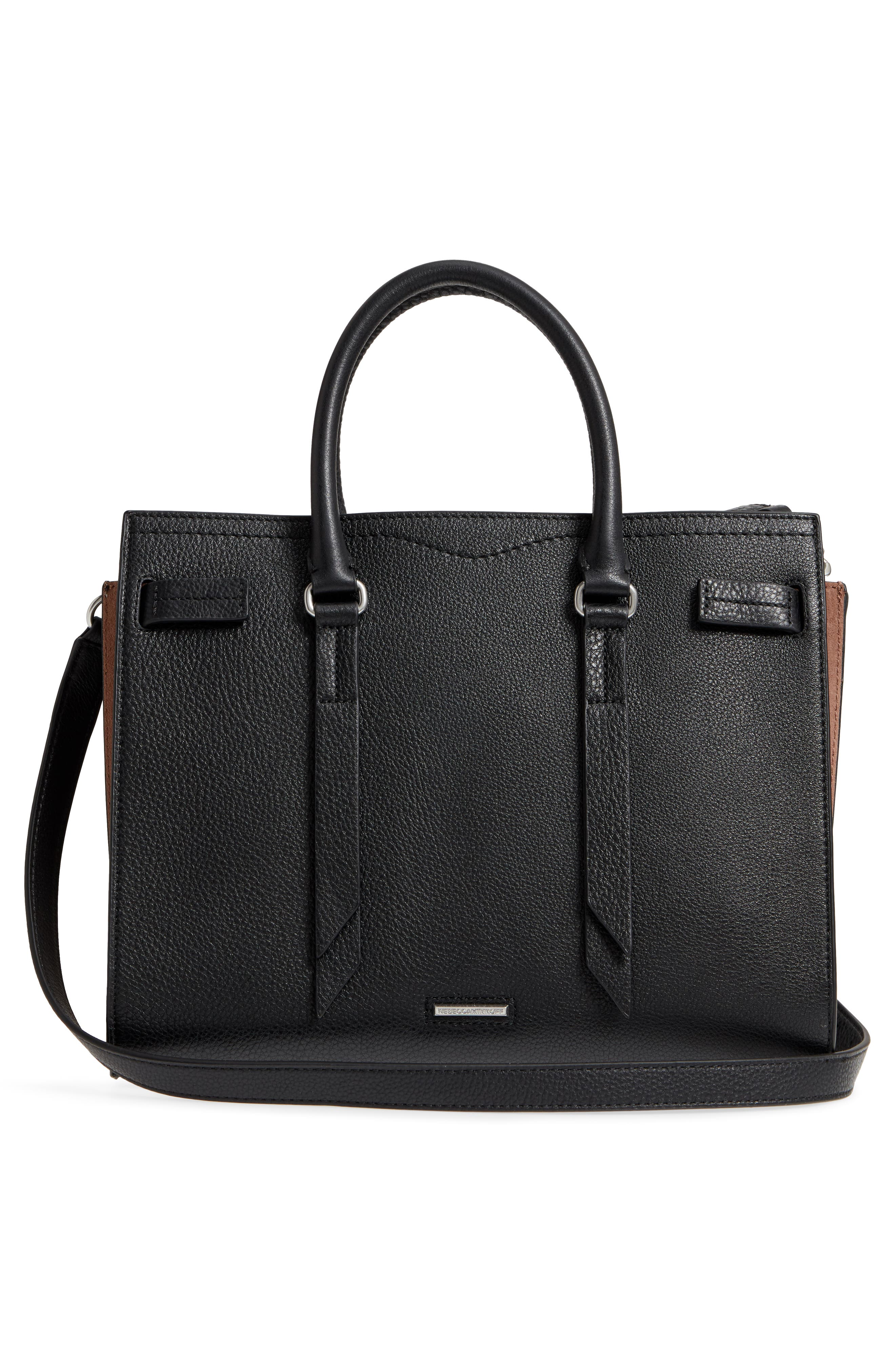 Sherry Calfskin Leather Satchel,                             Alternate thumbnail 3, color,                             002