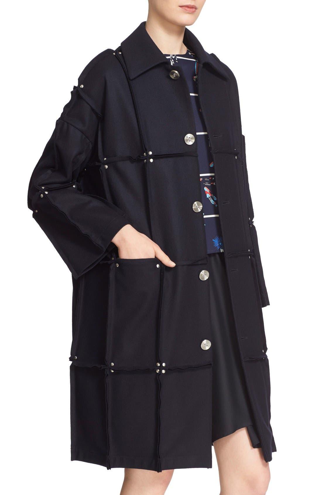 Rivet Detail Paneled Wool Coat,                             Alternate thumbnail 3, color,                             410