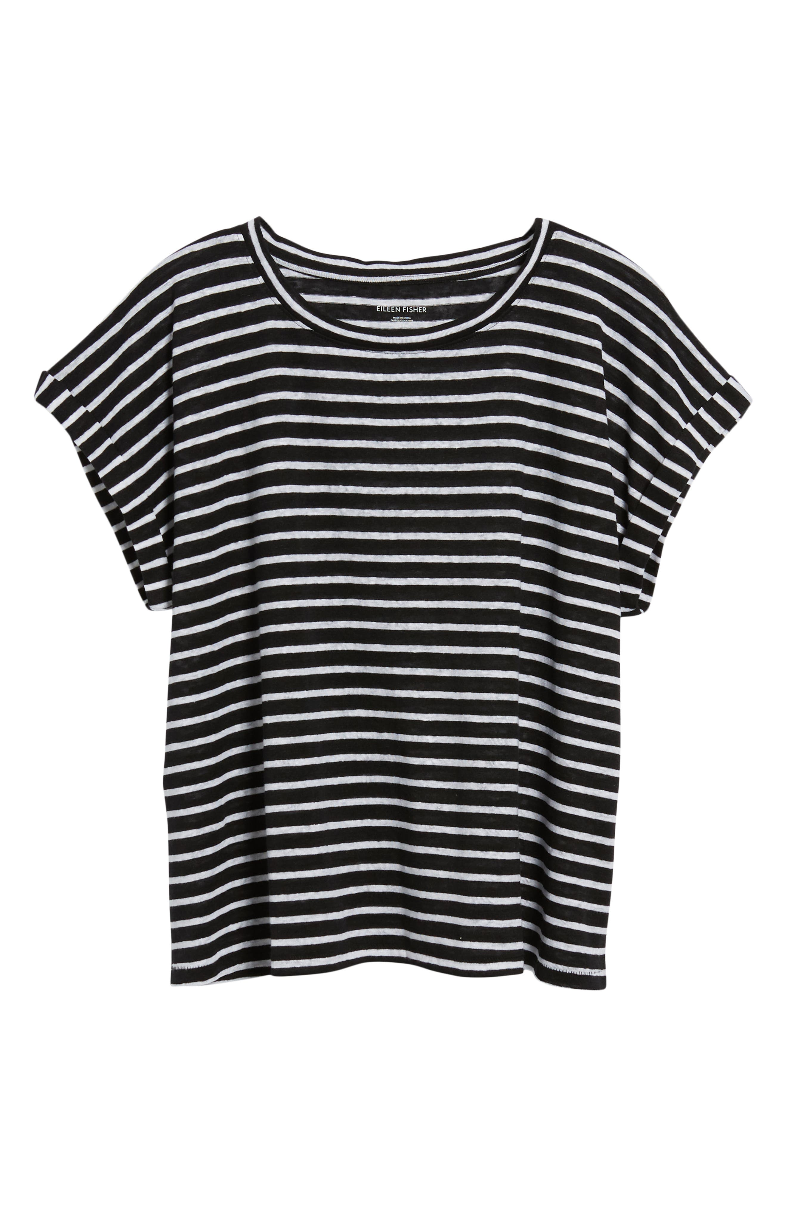 Stripe Boxy Organic Linen Top,                             Alternate thumbnail 6, color,                             018