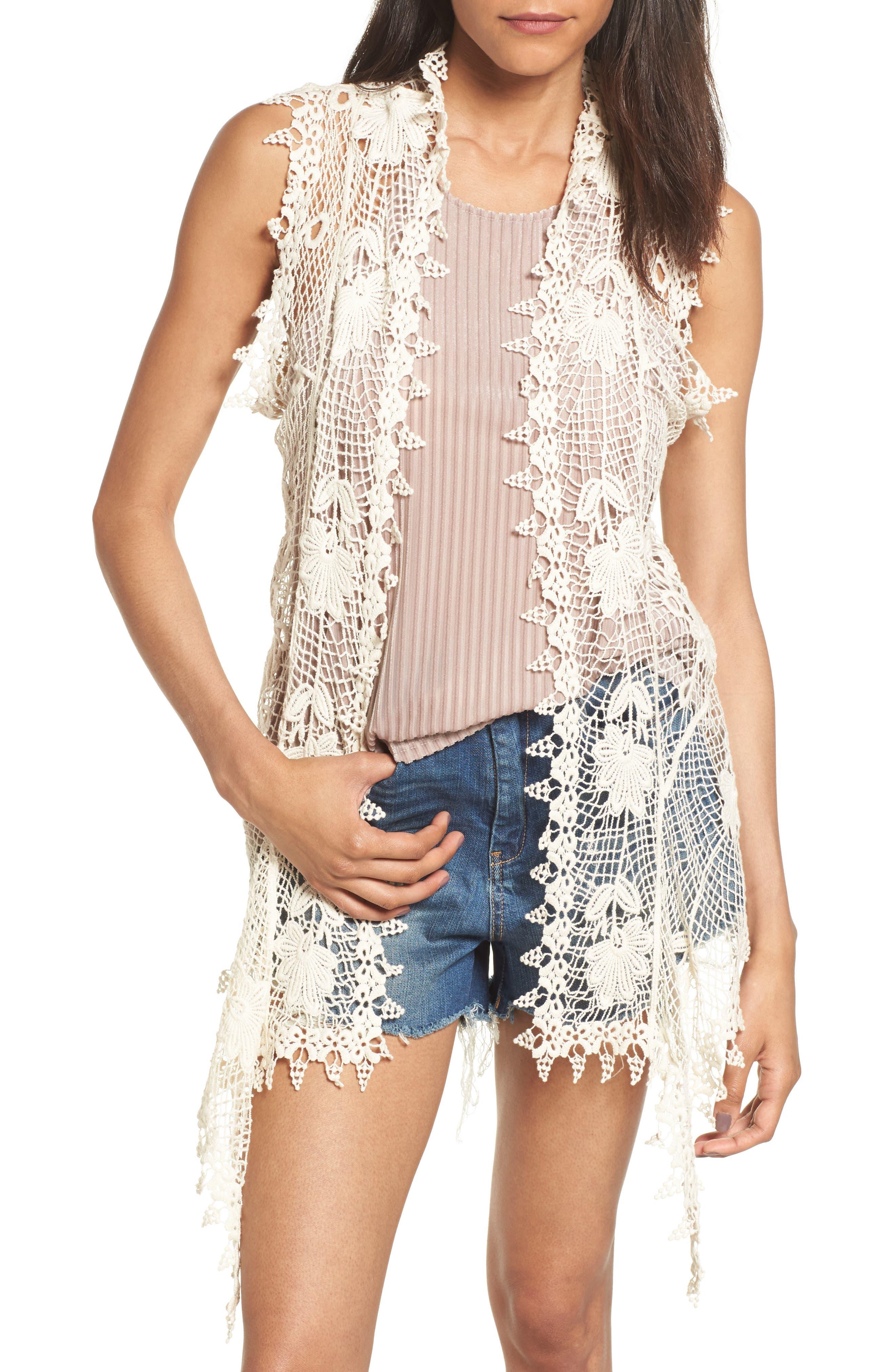 Crochet Cotton Vest,                             Main thumbnail 1, color,                             900