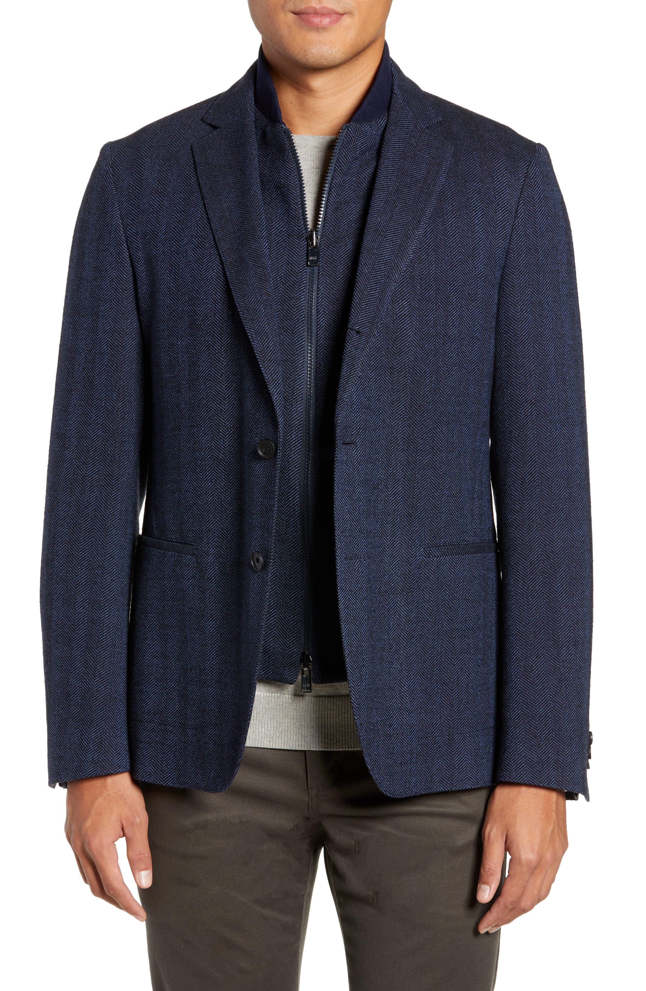 Nanon Trim Fit Herringbone Wool & Cotton Sport Coat,                             Main thumbnail 1, color,                             OPEN BLUE