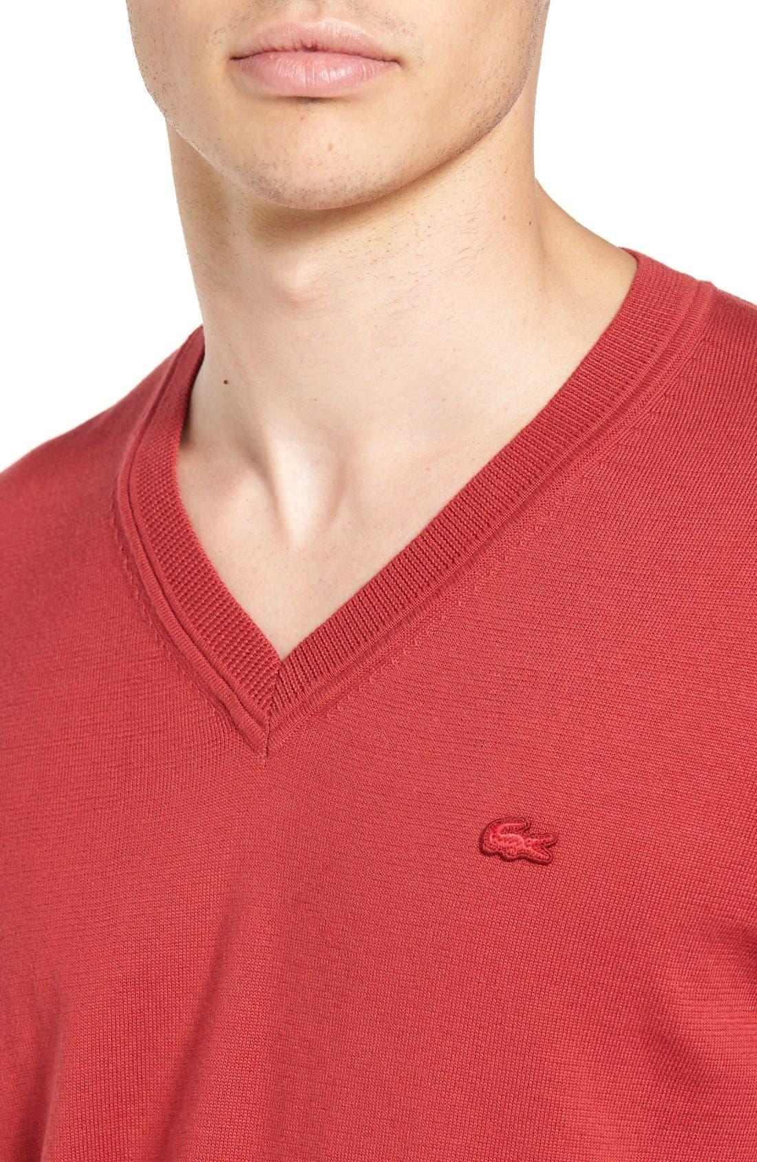 Cotton Jersey V-Neck Sweater,                             Alternate thumbnail 24, color,