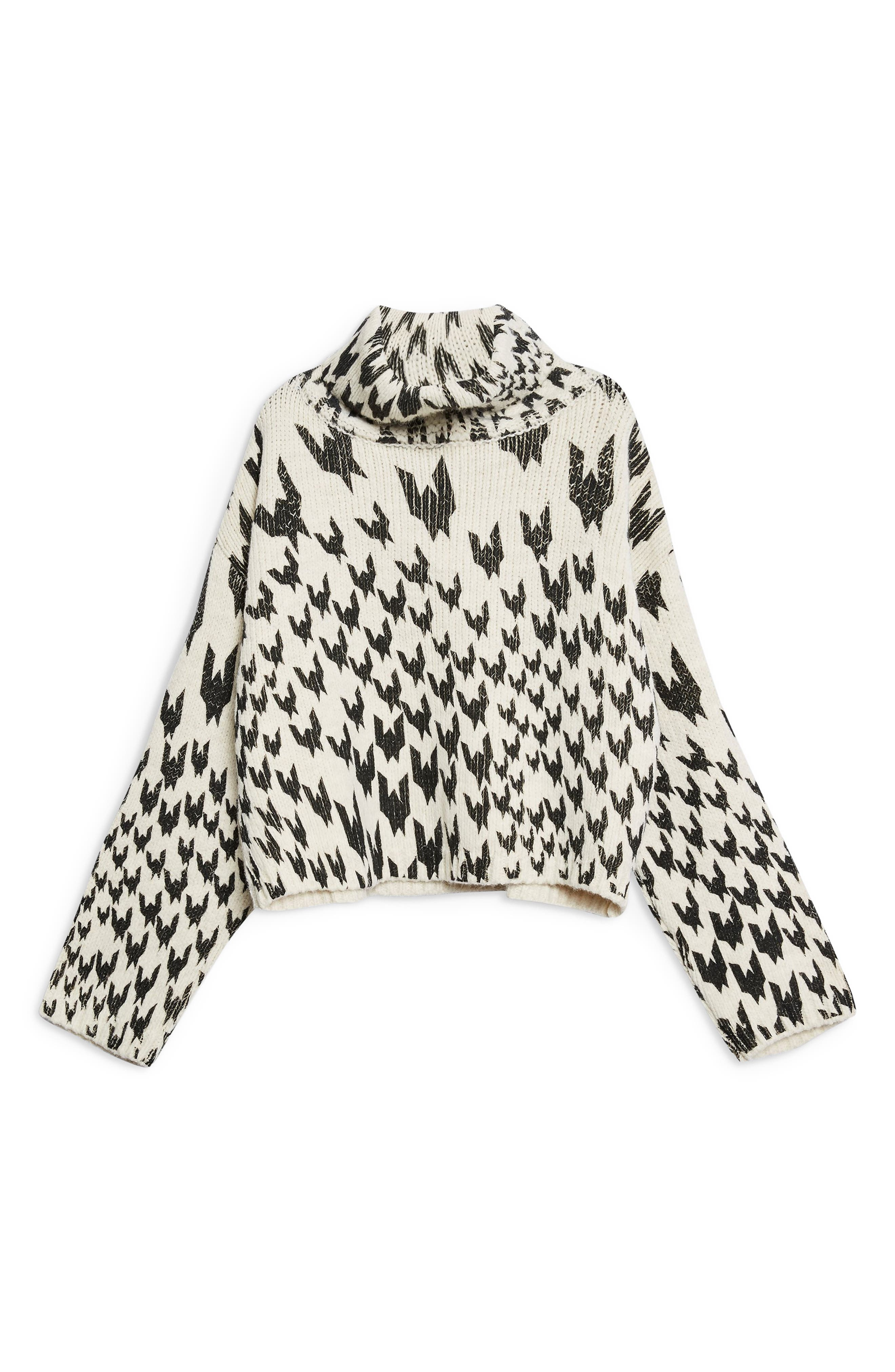 TOPSHOP,                             Dogtooth Chunky Roll Neck Sweater,                             Alternate thumbnail 4, color,                             IVORY MULTI