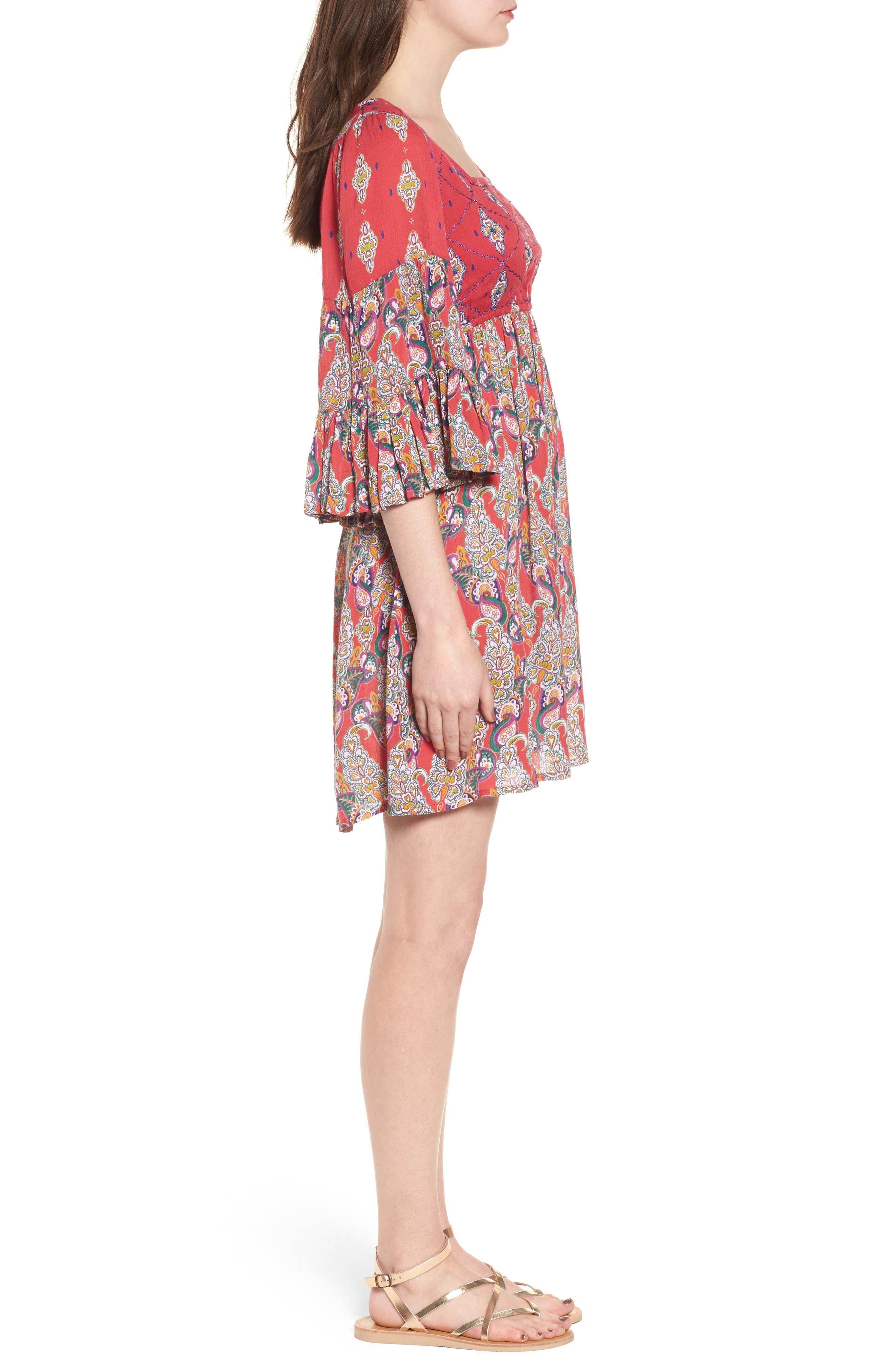 Alice Bell Sleeve Babydoll Dress,                             Alternate thumbnail 3, color,                             645