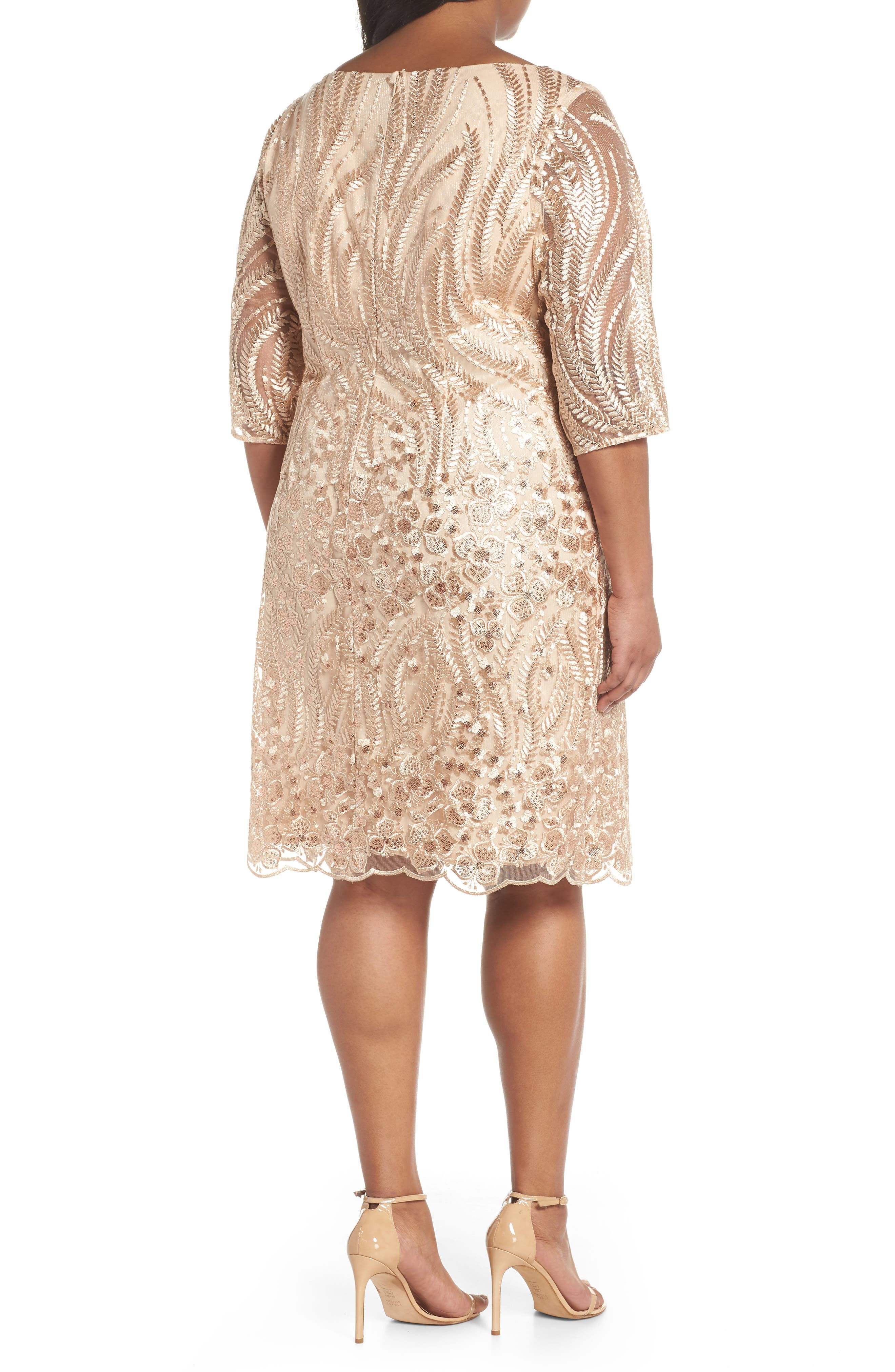 Sequin Embroidered Lace Sheath Dress,                             Alternate thumbnail 2, color,                             CHAMPAGNE