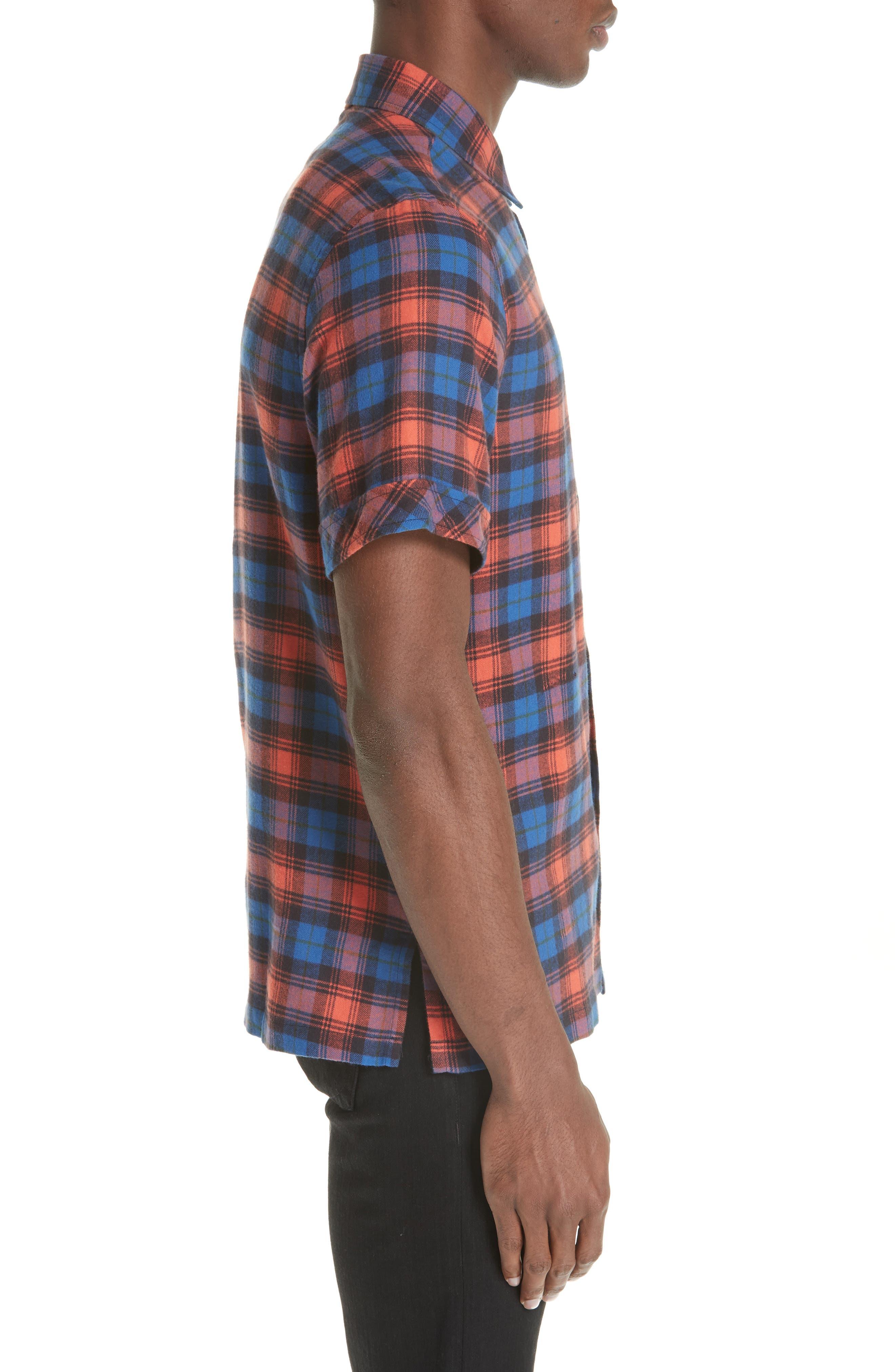 Plaid Flannel Camp Shirt,                             Alternate thumbnail 3, color,                             BLUE PLAID