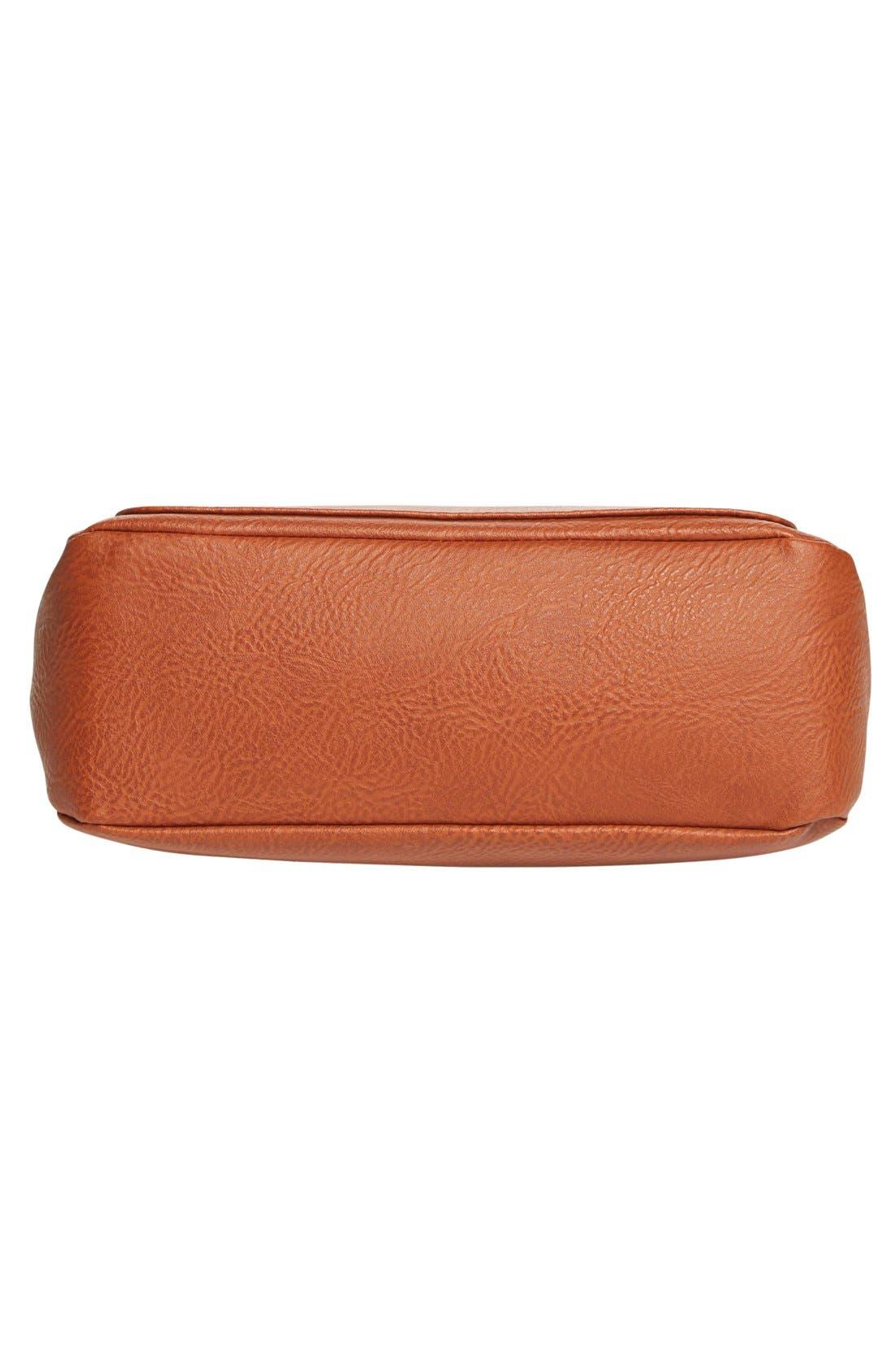 Zip Flap Faux Leather Crossbody Bag,                             Alternate thumbnail 6, color,