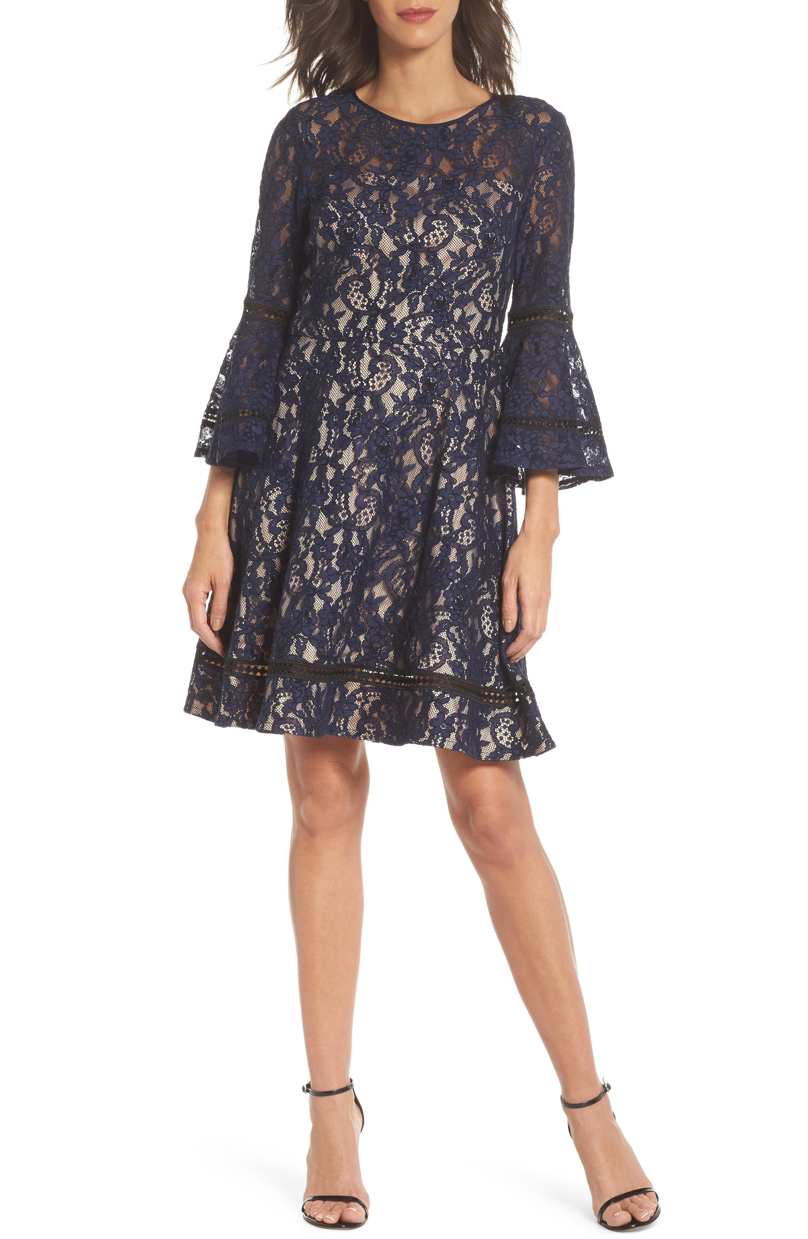 Bell Sleeve Lace Fit & Flare Dress,                             Main thumbnail 1, color,                             410