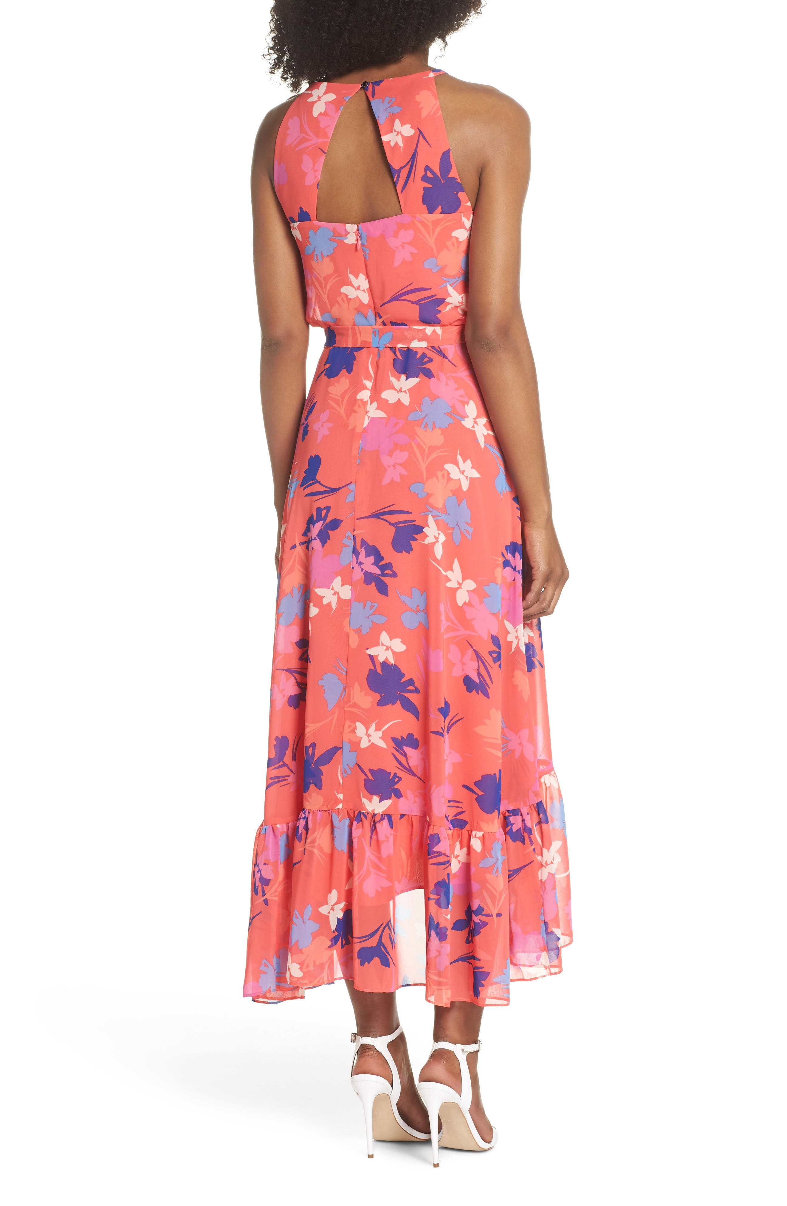 Floral High/Low Chiffon Halter Dress,                             Alternate thumbnail 2, color,                             653