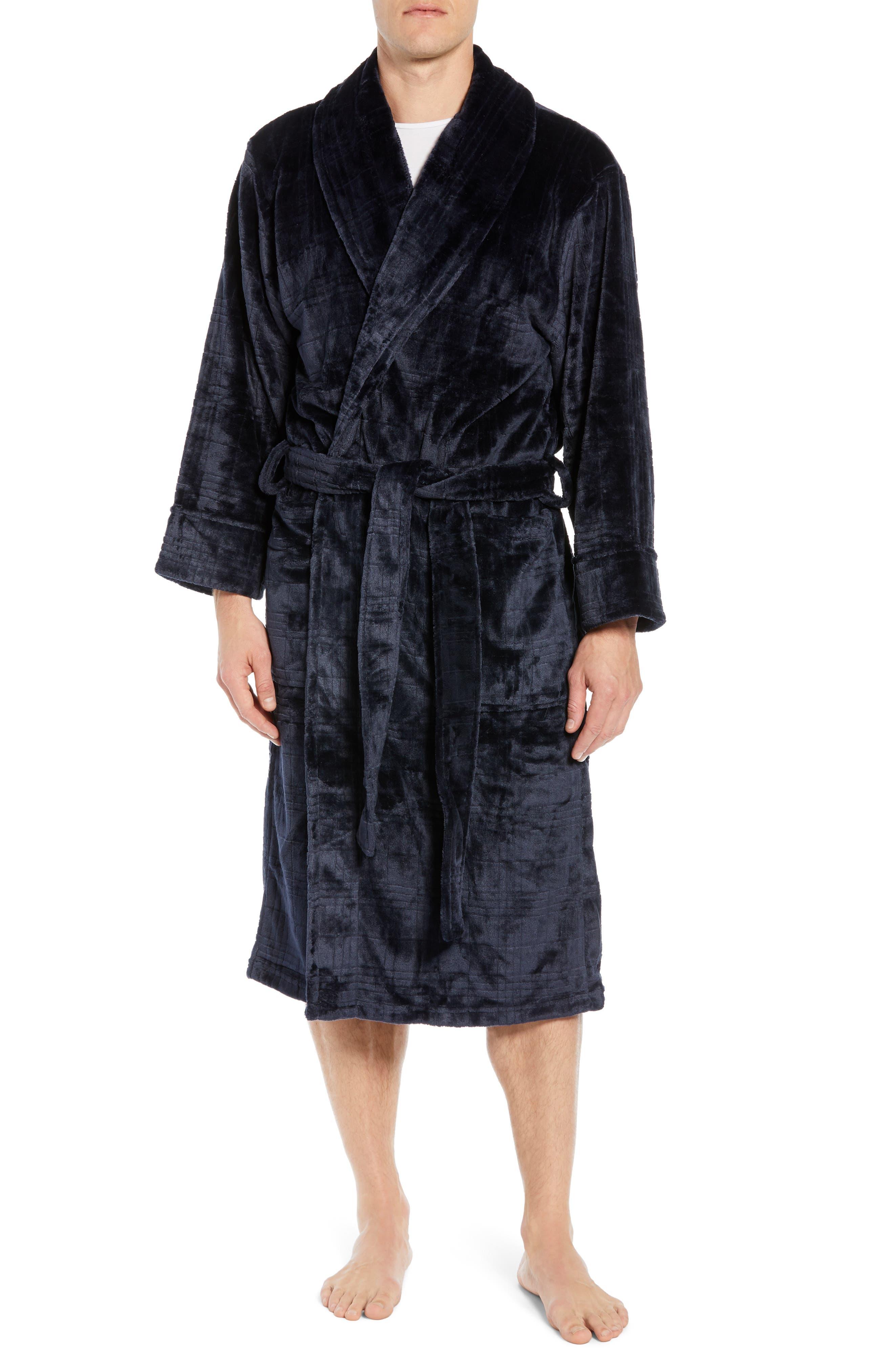 Plaid Plush Jacquard Robe,                             Main thumbnail 1, color,                             MIDNIGHT
