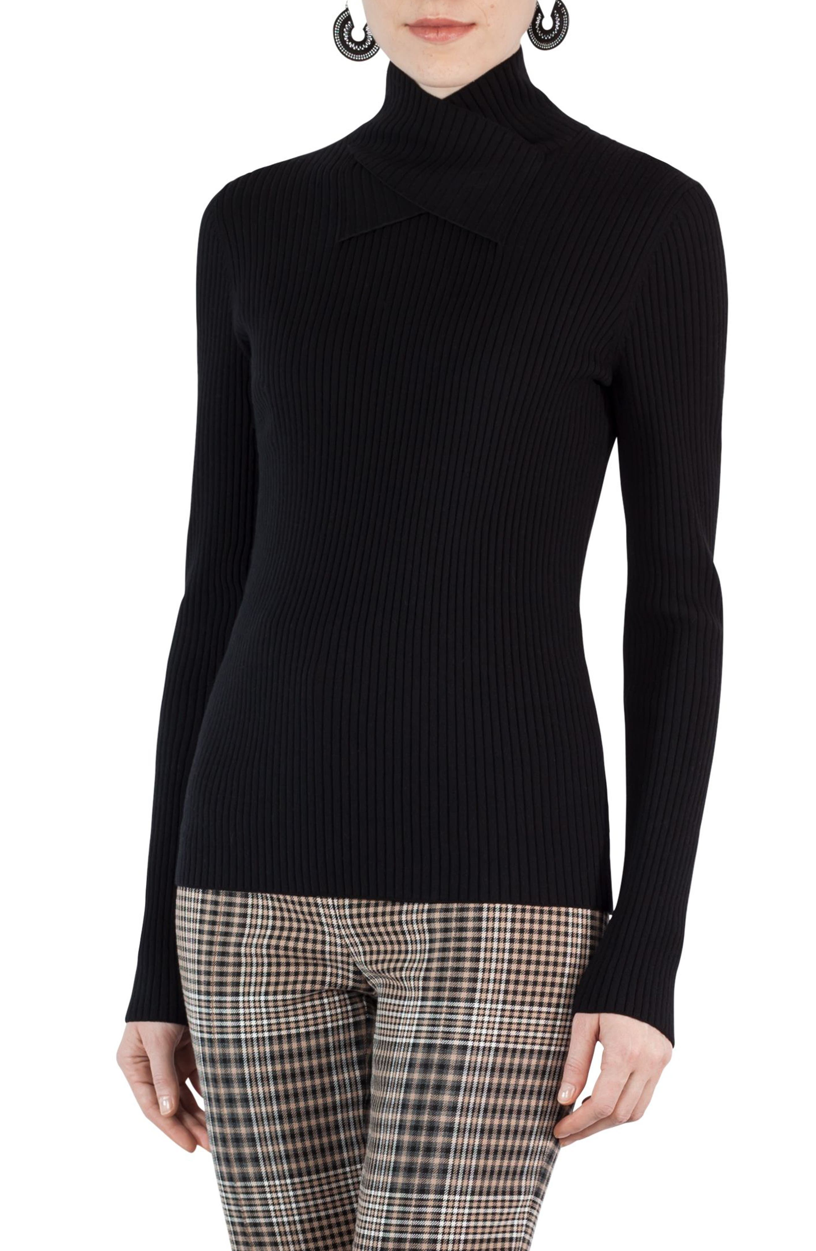 Stretch Wool Crisscross Turtleneck,                             Alternate thumbnail 3, color,                             009