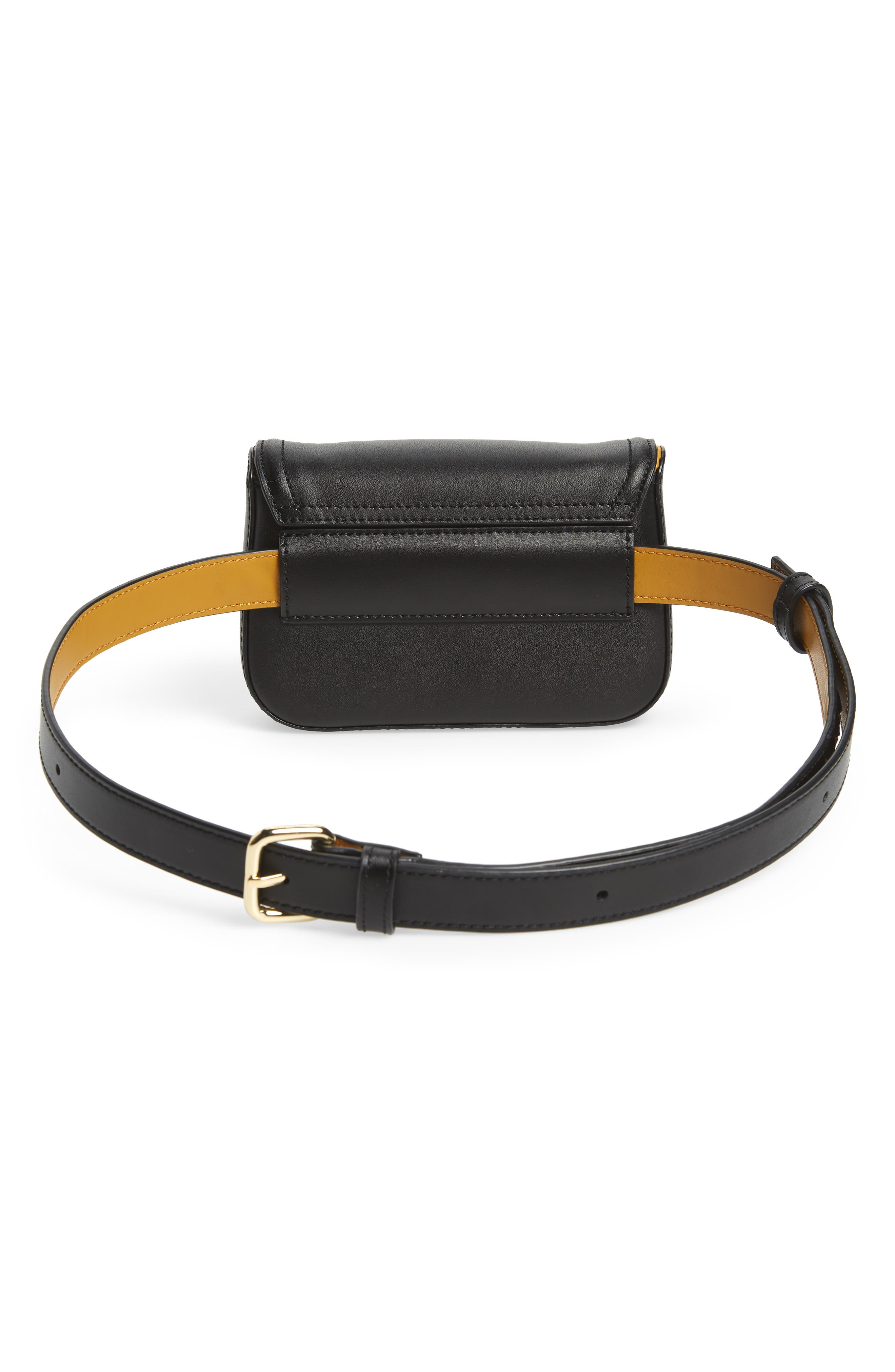TED BAKER LONDON,                             Colour by Numbers Krakan Leather Belt Bag,                             Alternate thumbnail 5, color,                             BLACK