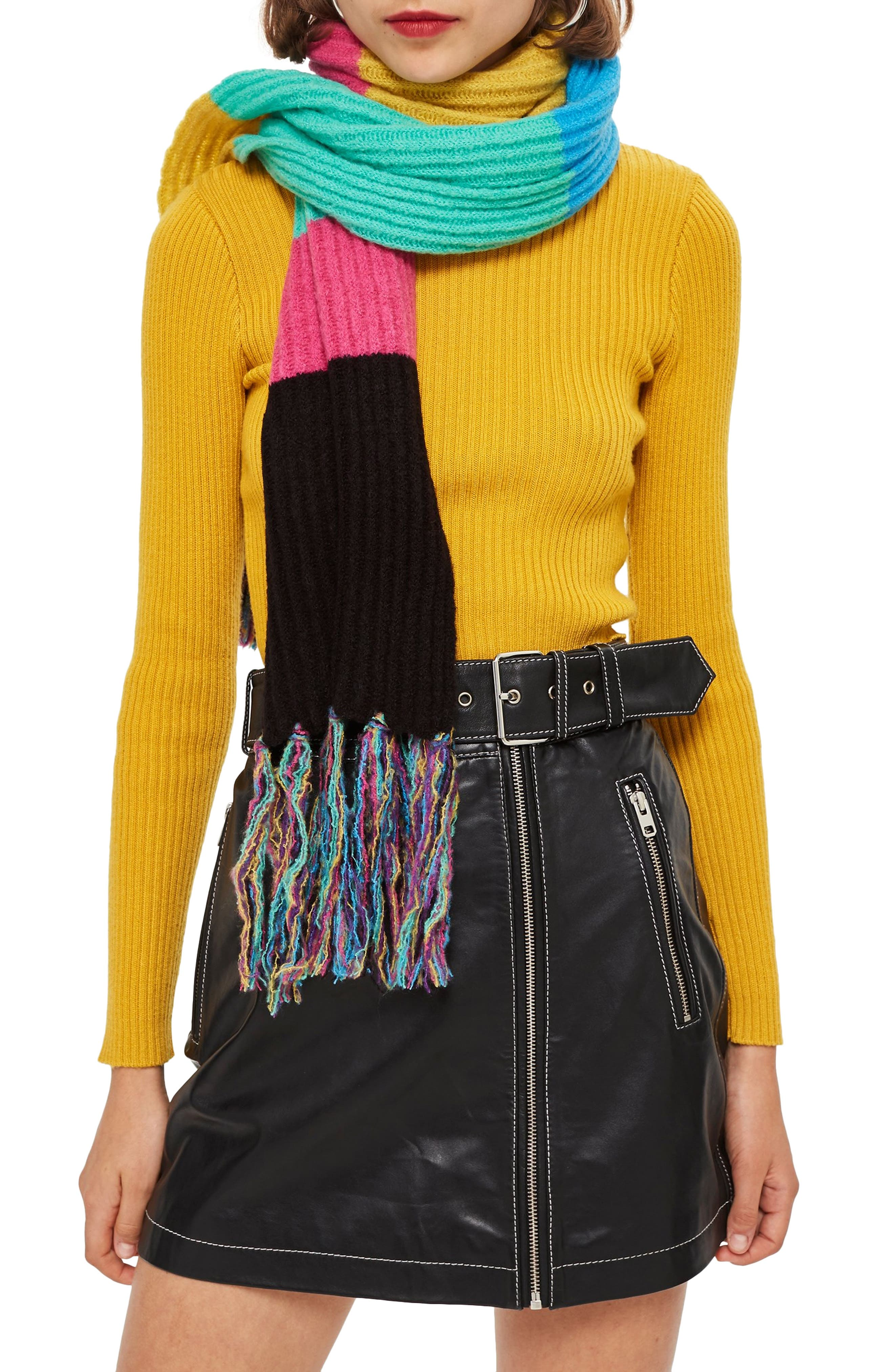 Stripe Ribbed Scarf,                         Main,                         color, BLACK MULTI
