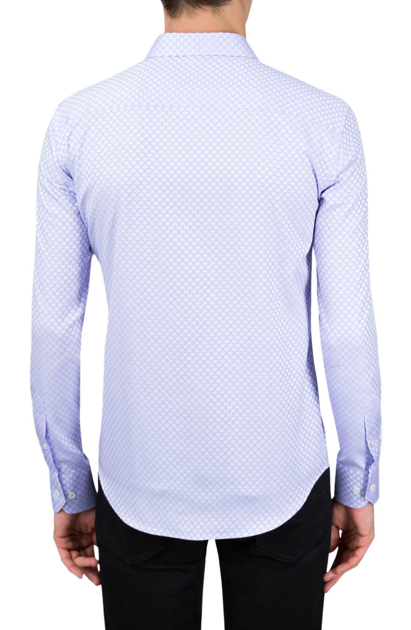 Shaped Fit Rectangle Jacquard Sport Shirt,                             Alternate thumbnail 4, color,