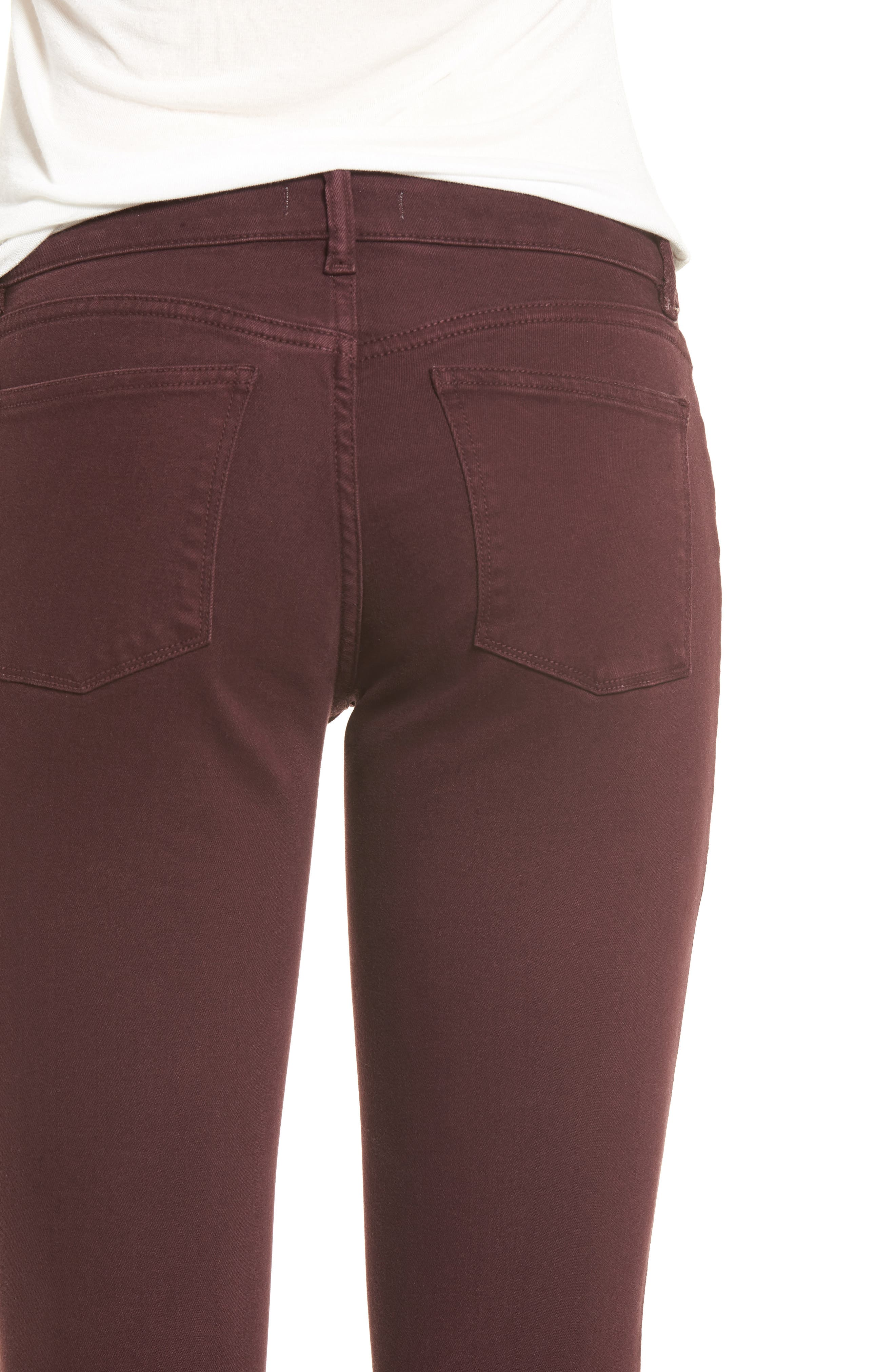 Margaux Instasculpt Ankle Skinny Jeans,                             Alternate thumbnail 4, color,                             DEEP BURGUNDY