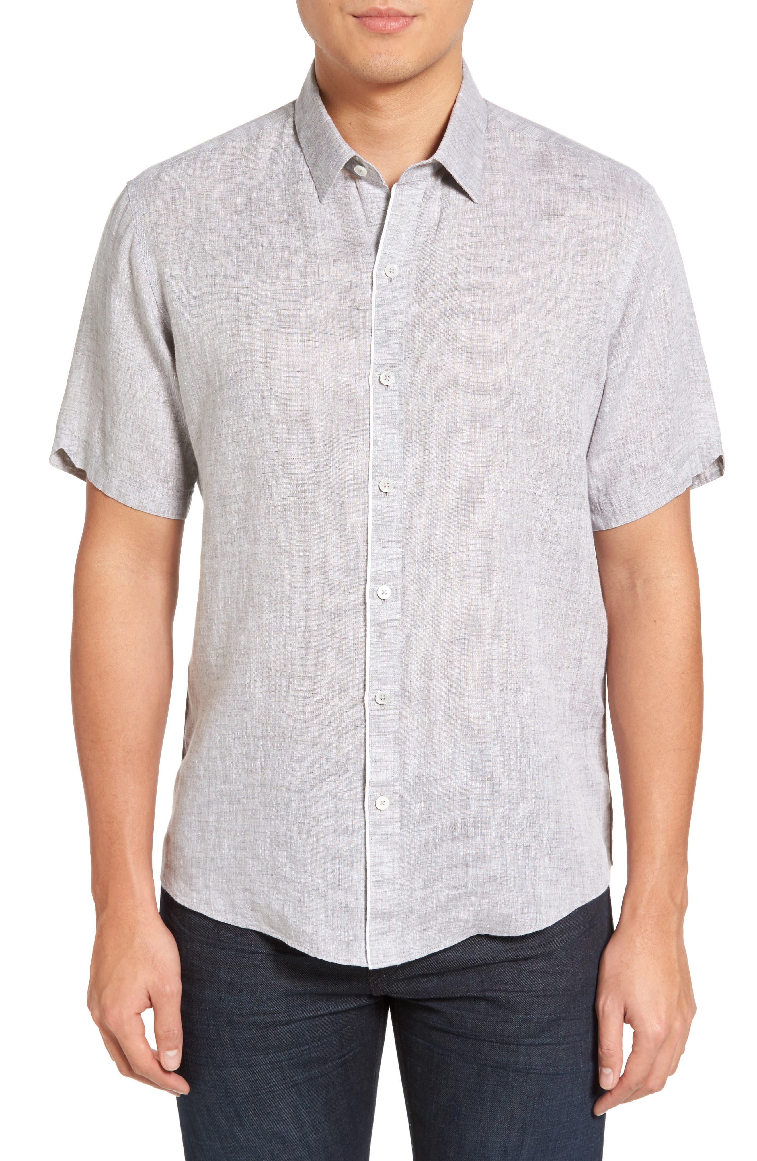 Kaplan Slim Fit Linen Sport Shirt,                         Main,                         color, 020