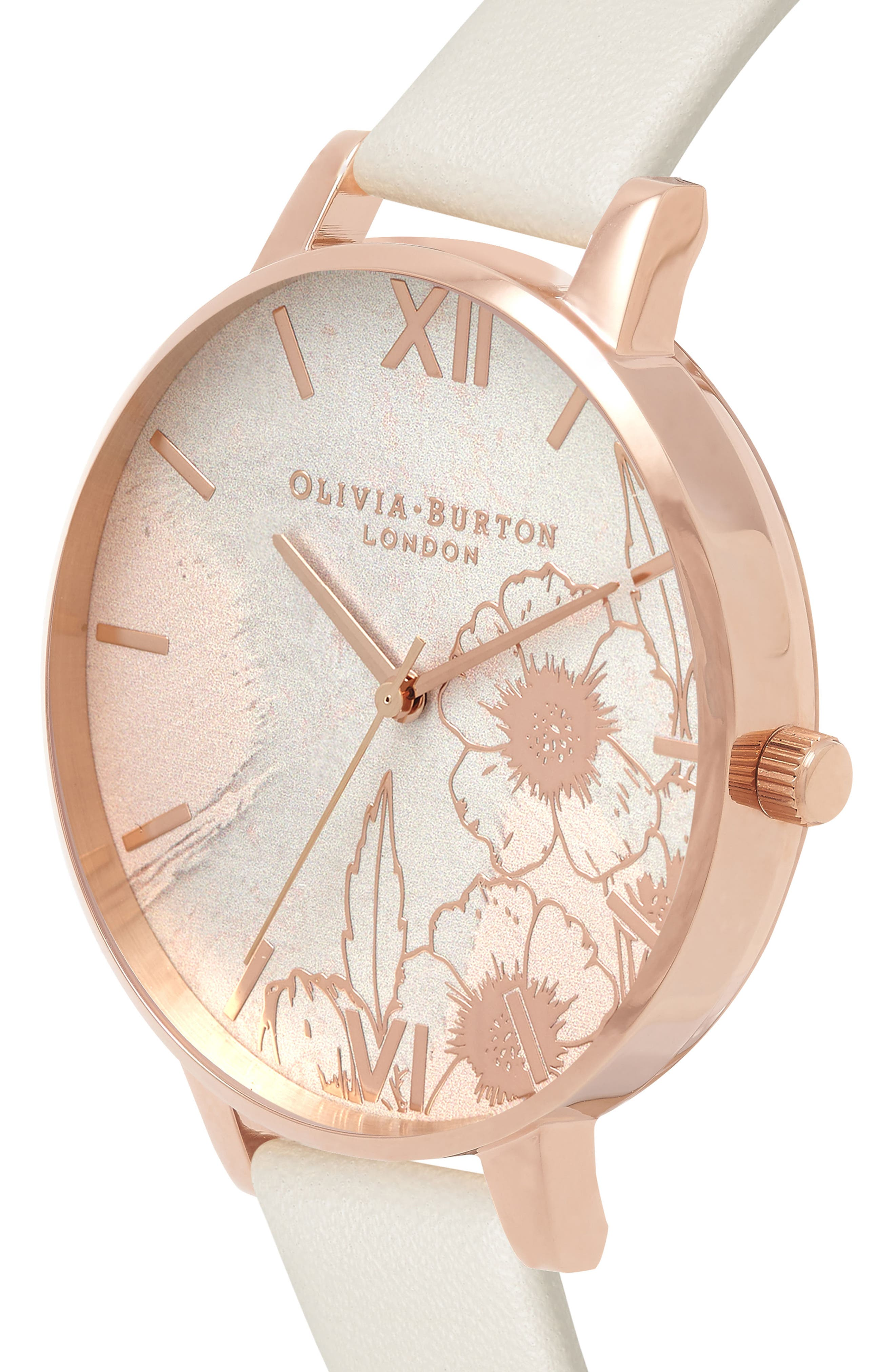 Abstract Floral Faux Leather Strap Watch, 38mm,                             Alternate thumbnail 3, color,                             NUDE/ FLORAL/ ROSE GOLD