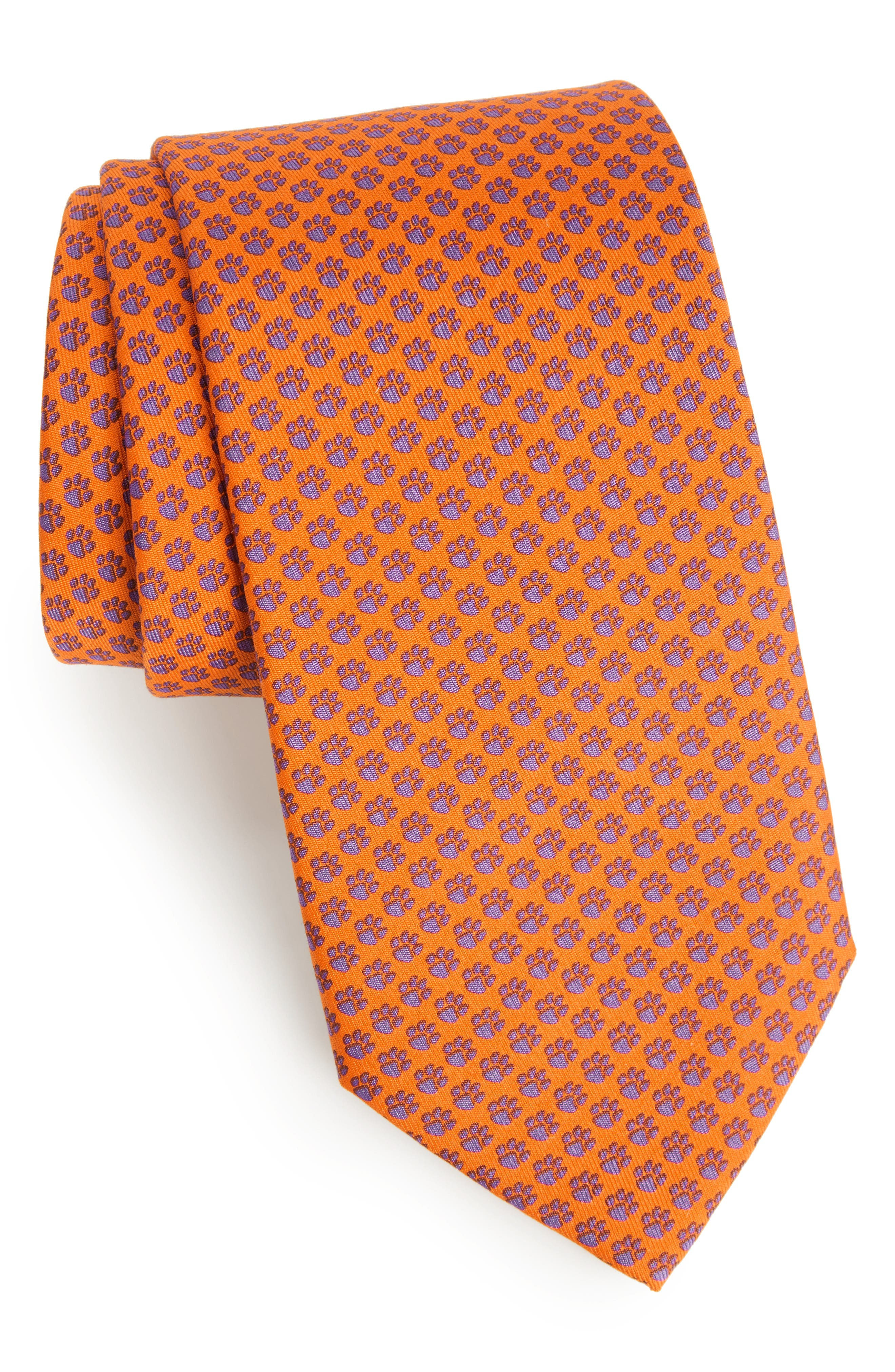 Clemson Silk Tie,                         Main,                         color, 800