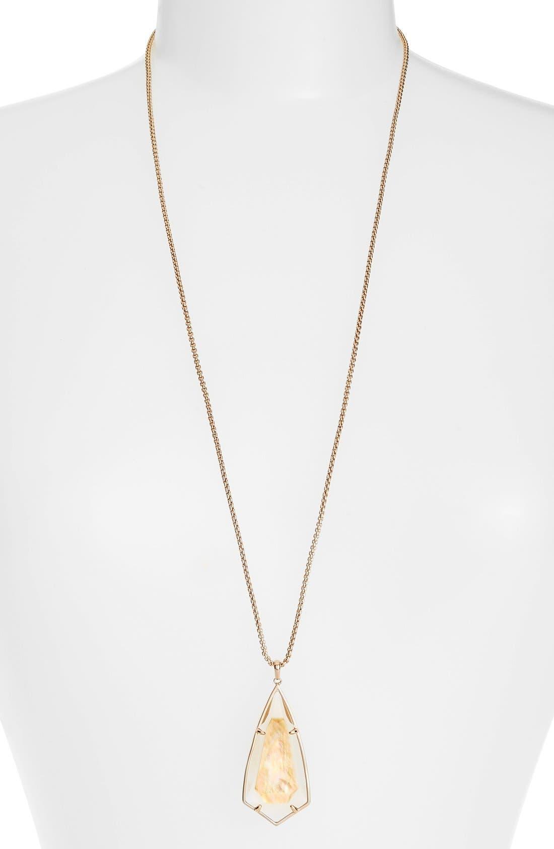 'Carole' Long Semiprecious Stone Pendant Necklace,                             Main thumbnail 6, color,