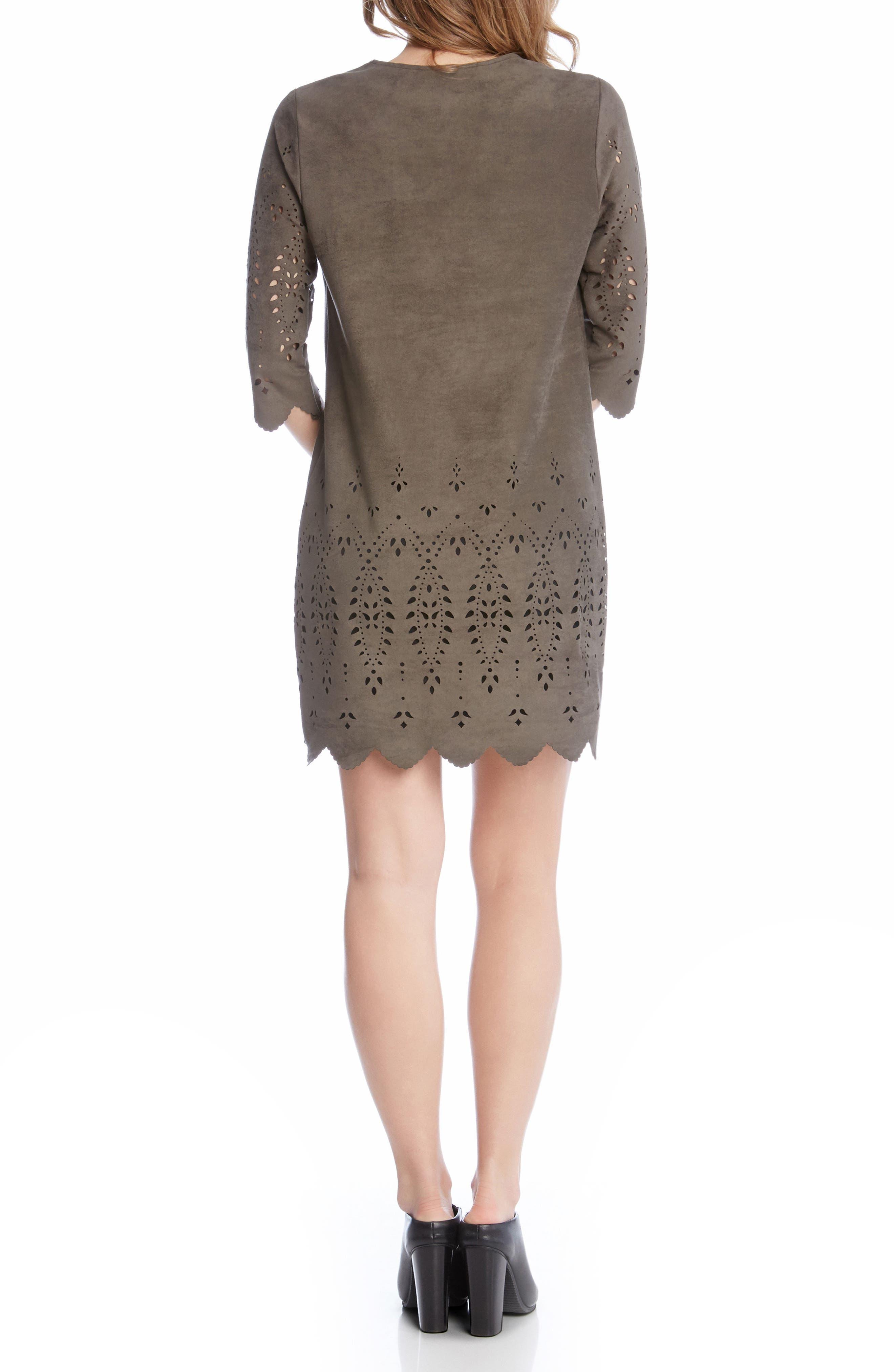 Laser Cut Faux Suede Dress,                             Alternate thumbnail 2, color,