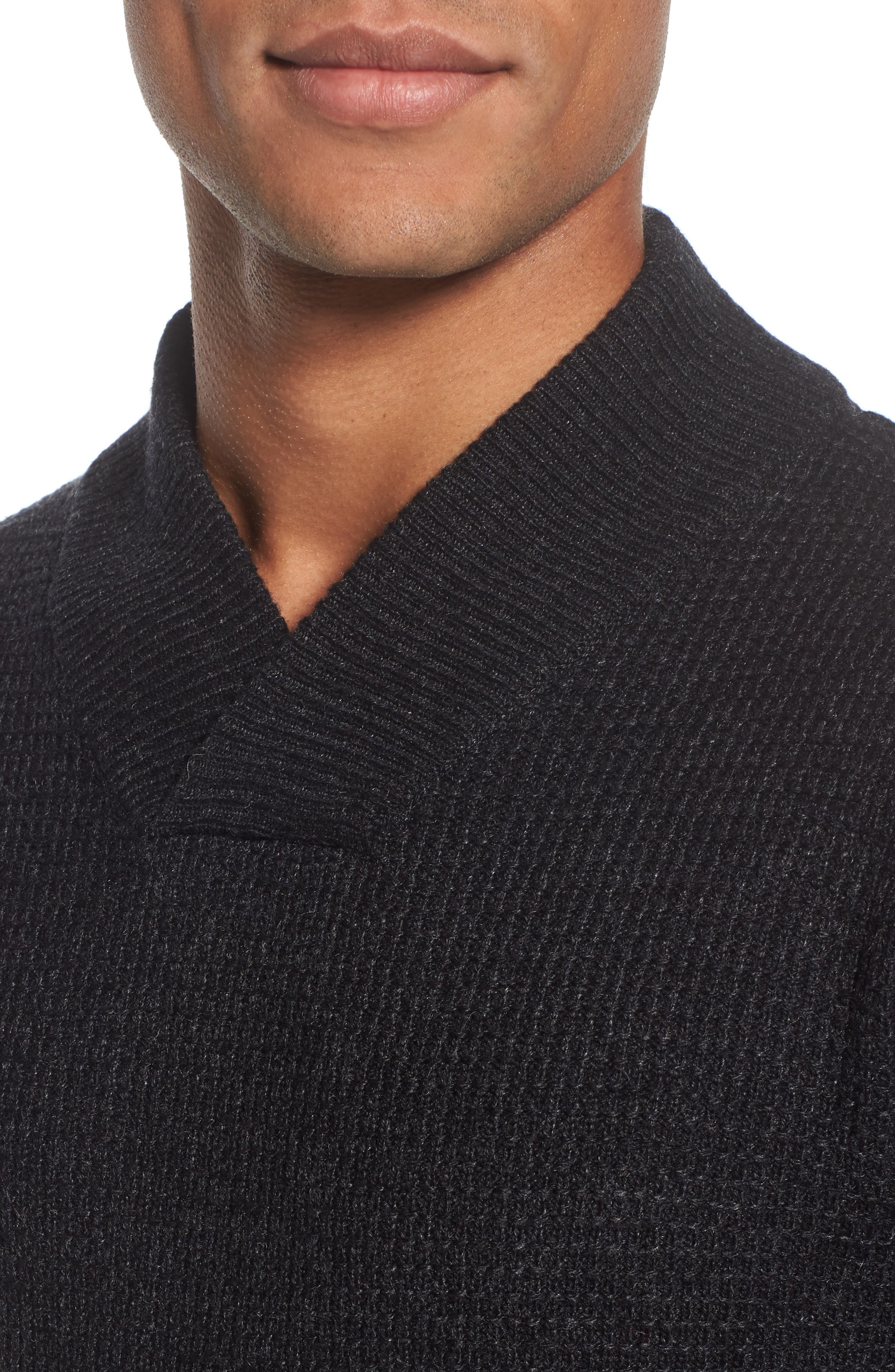 Waffle Knit Thermal Wool Blend Pullover,                             Alternate thumbnail 4, color,                             BLACK