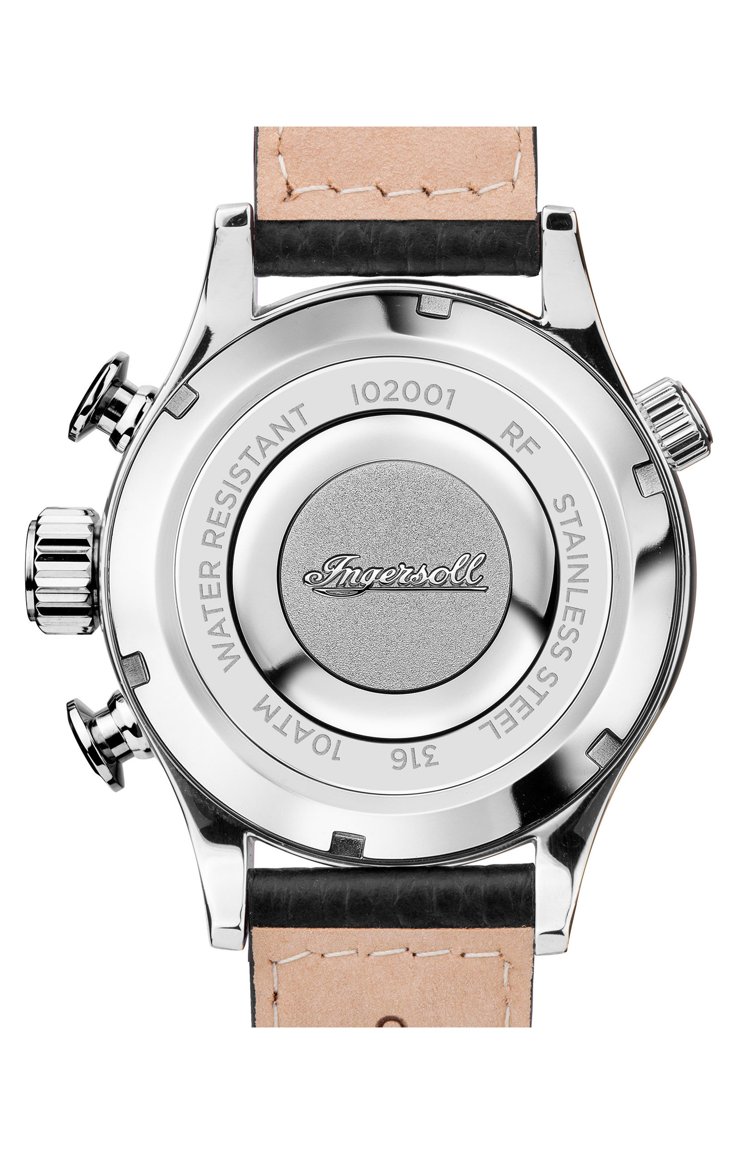 Ingersoll Chronograph Leather Strap Watch, 46mm,                             Alternate thumbnail 2, color,                             001