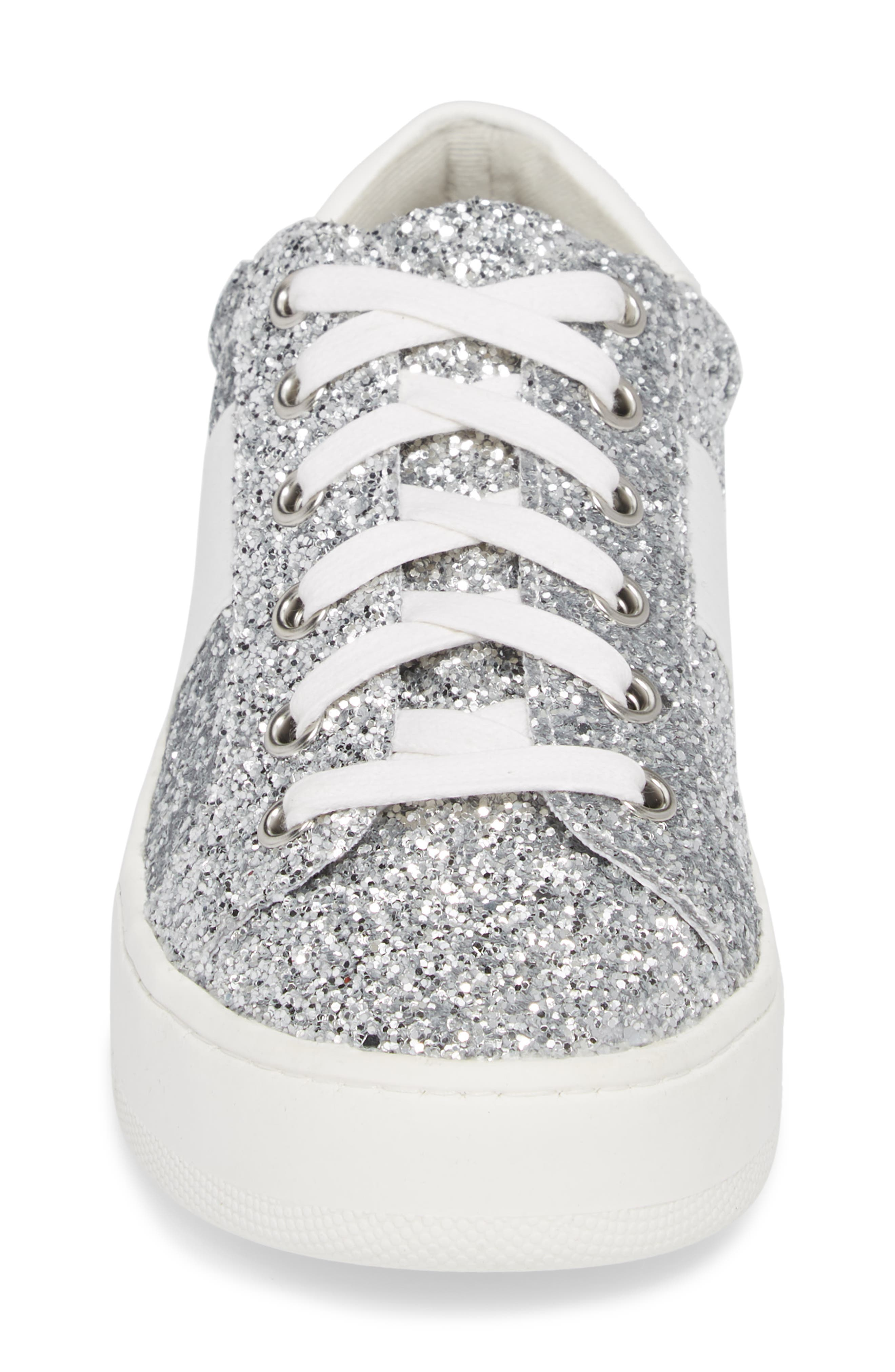 Belle-G Glitter Platform Sneaker,                             Alternate thumbnail 4, color,                             SILVER GLITTER