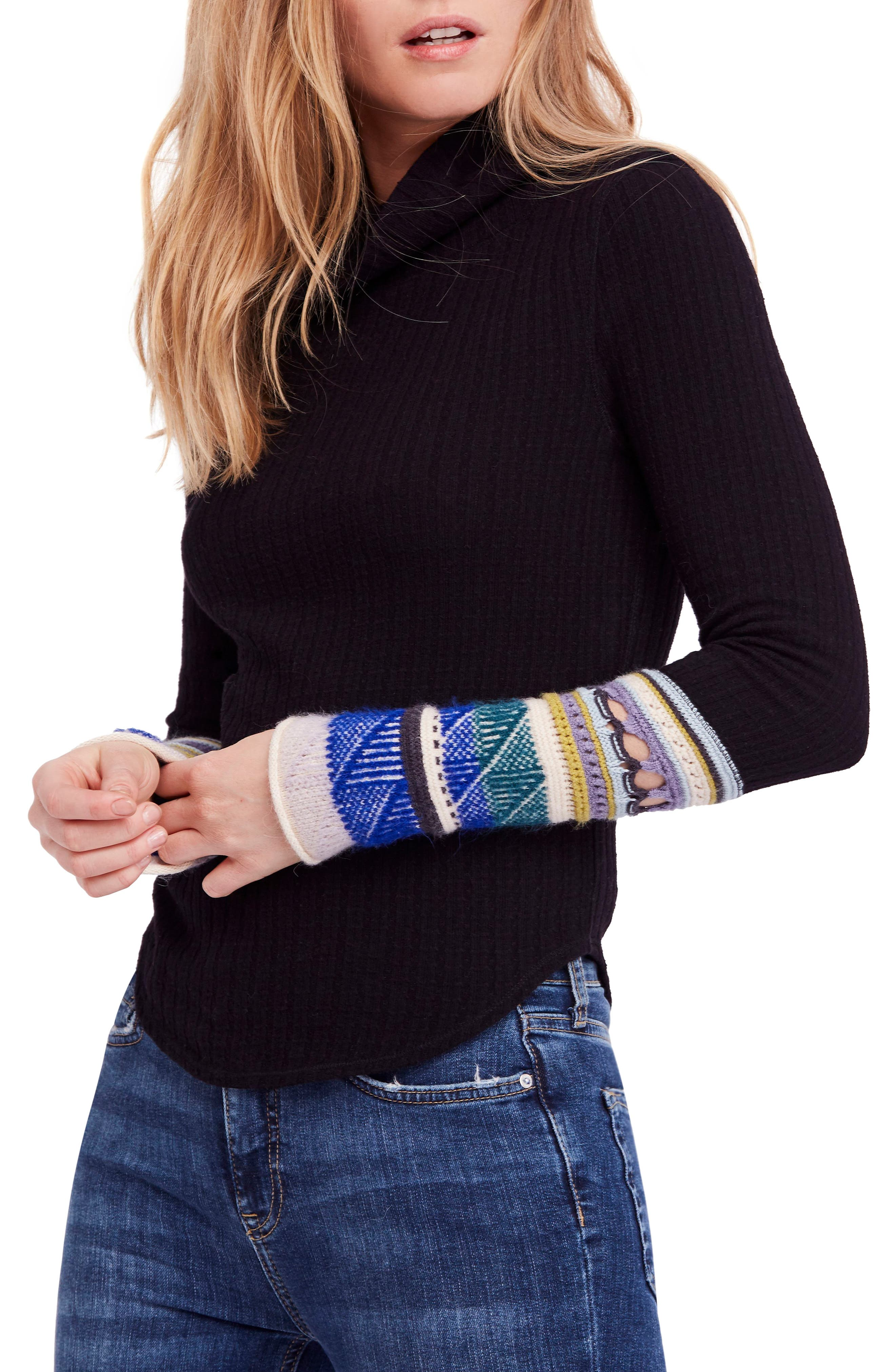 Mixed-Up Cuff Sweater,                             Main thumbnail 1, color,                             001